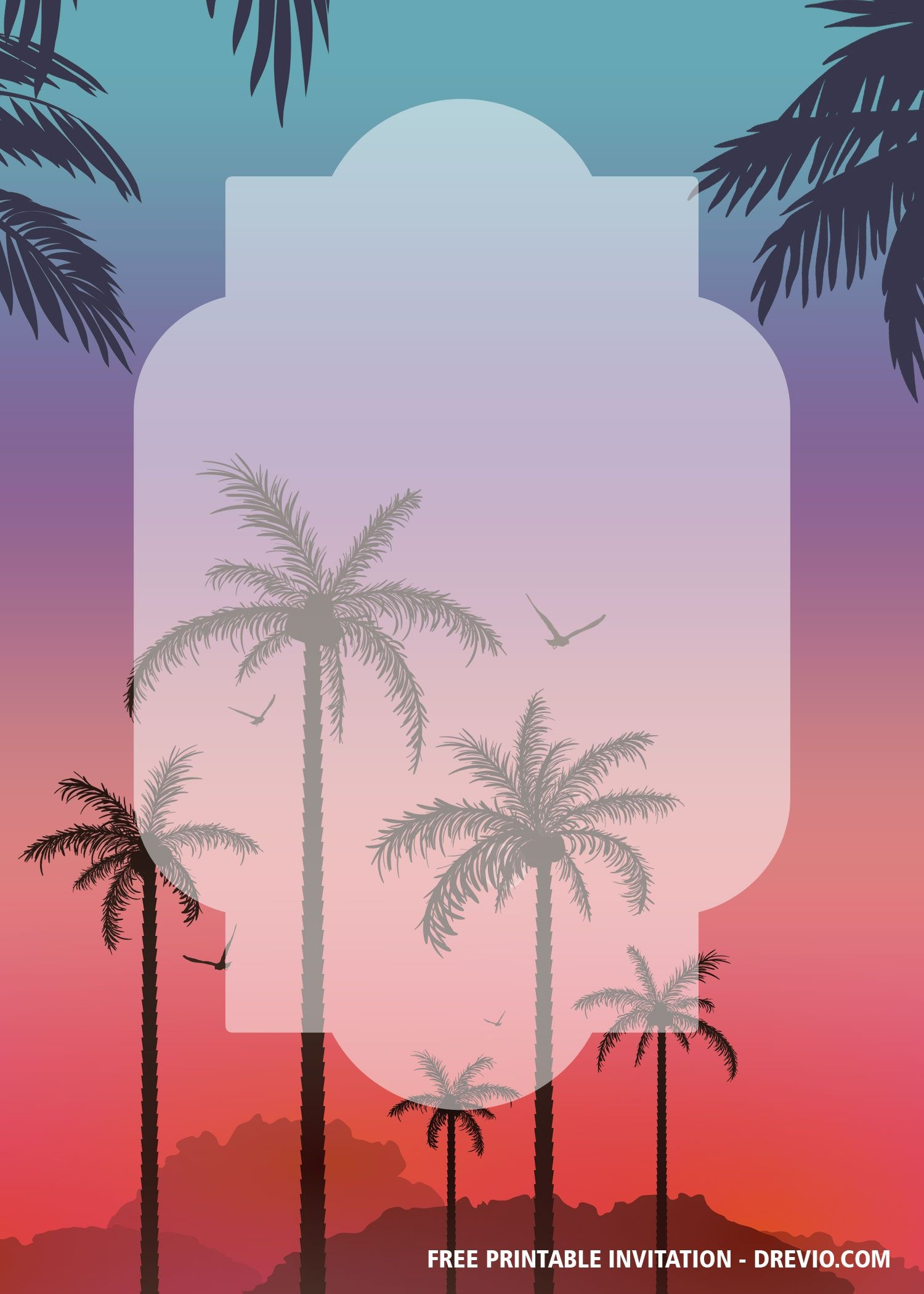 Free Printable Palm Tree Invitation Templates   Bagvania Invitation - Free Printable Palm Tree Template