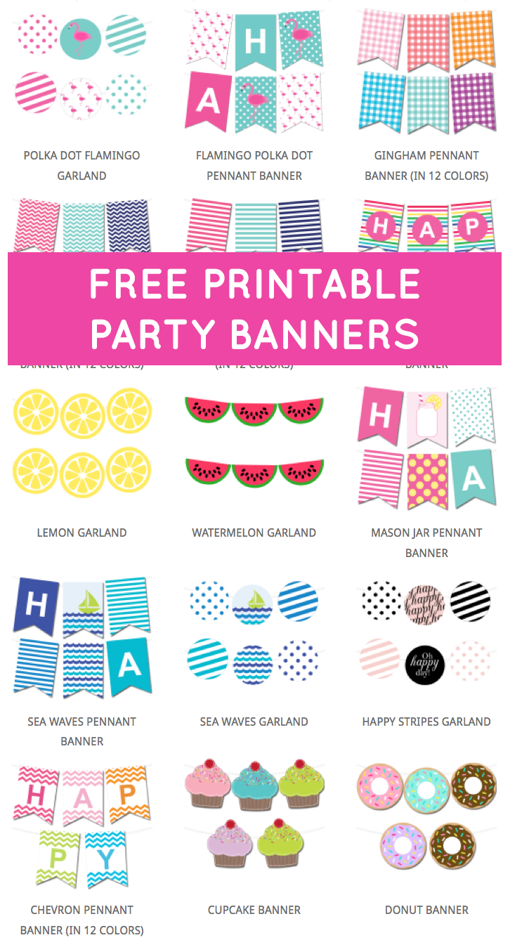 Free Printable Party Banners From @chicfetti - Diy Birthday Banner Free Printable