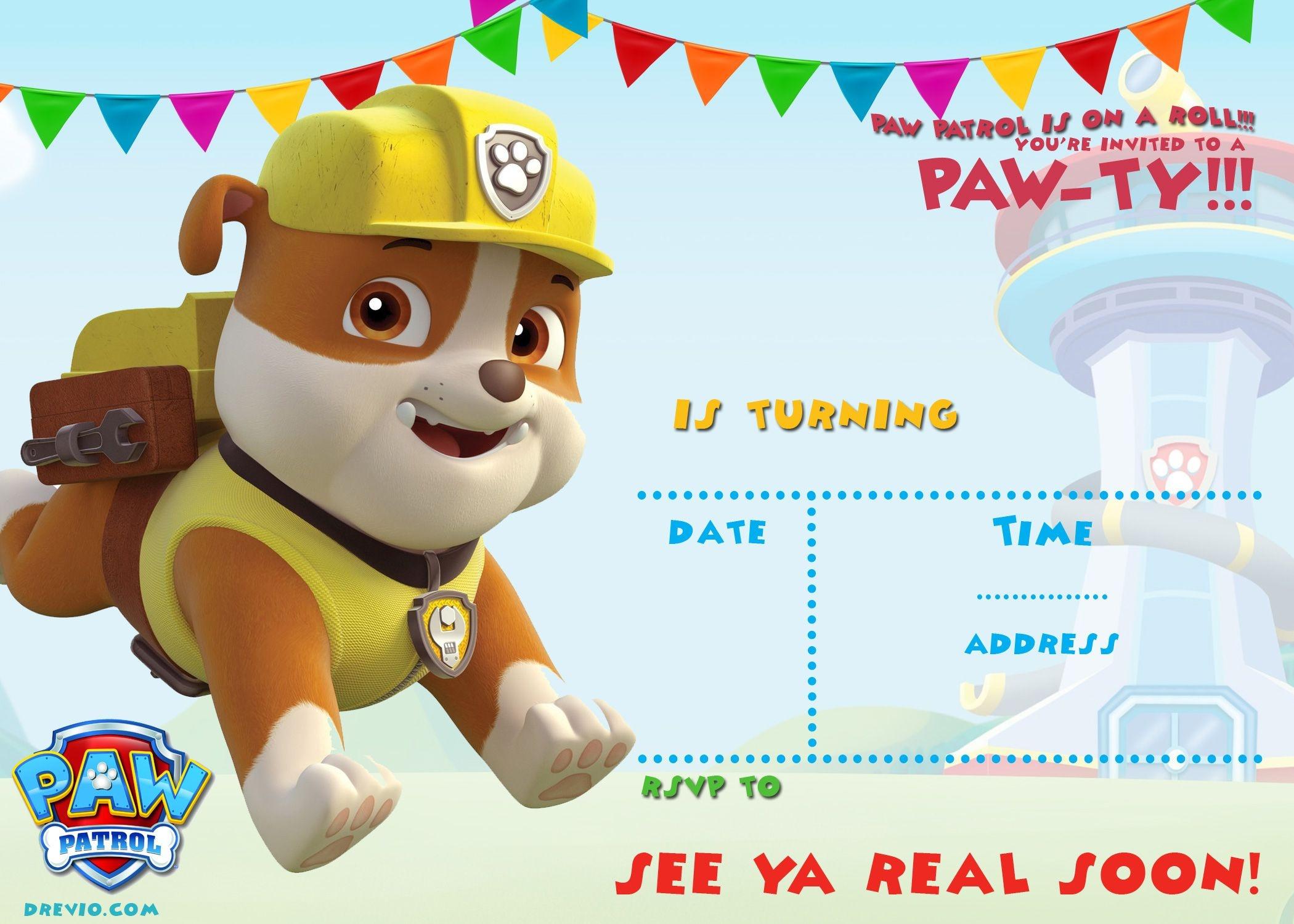 Free Printable Paw Patrol Invitation Template - All Characters - Free Printable Paw Patrol Invitations