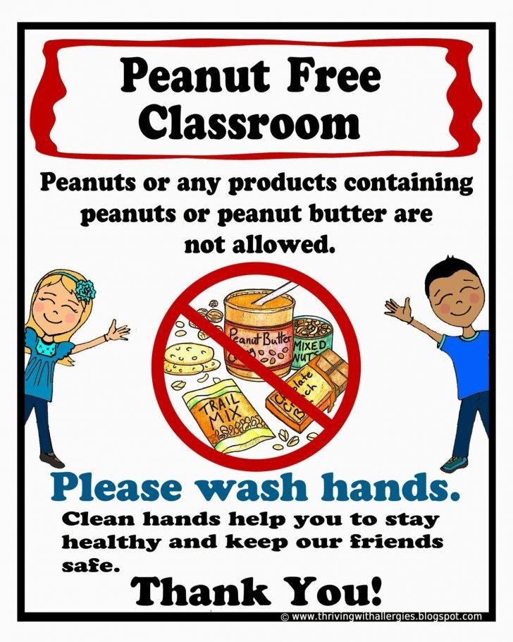 Printable Nut Free Signs