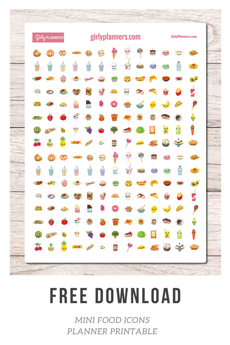 Free Printable Planner Stickers: Mini Food Icons - I Use These In My - Free Printable Icons