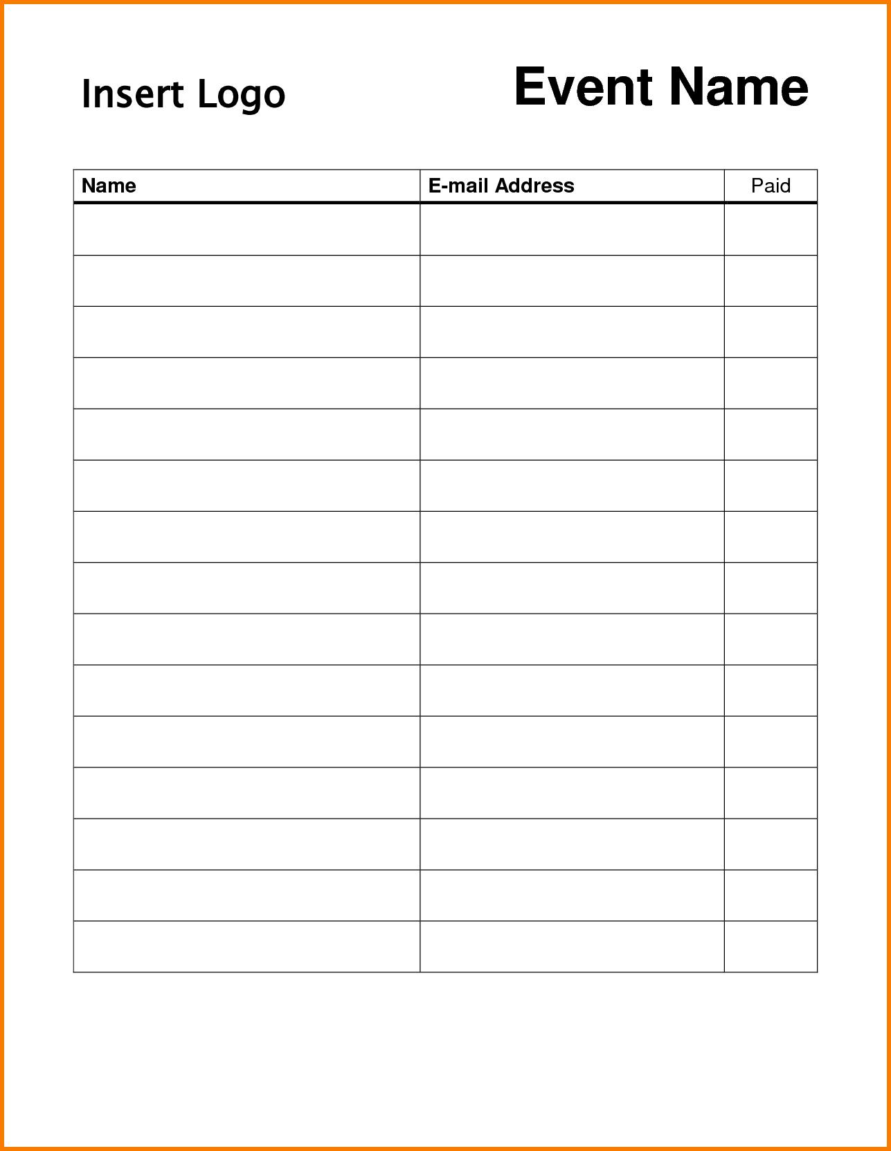 Free Printable Potluck Sign Up Sheet Template Pdf Archives - Free Printable Sign In Sheet