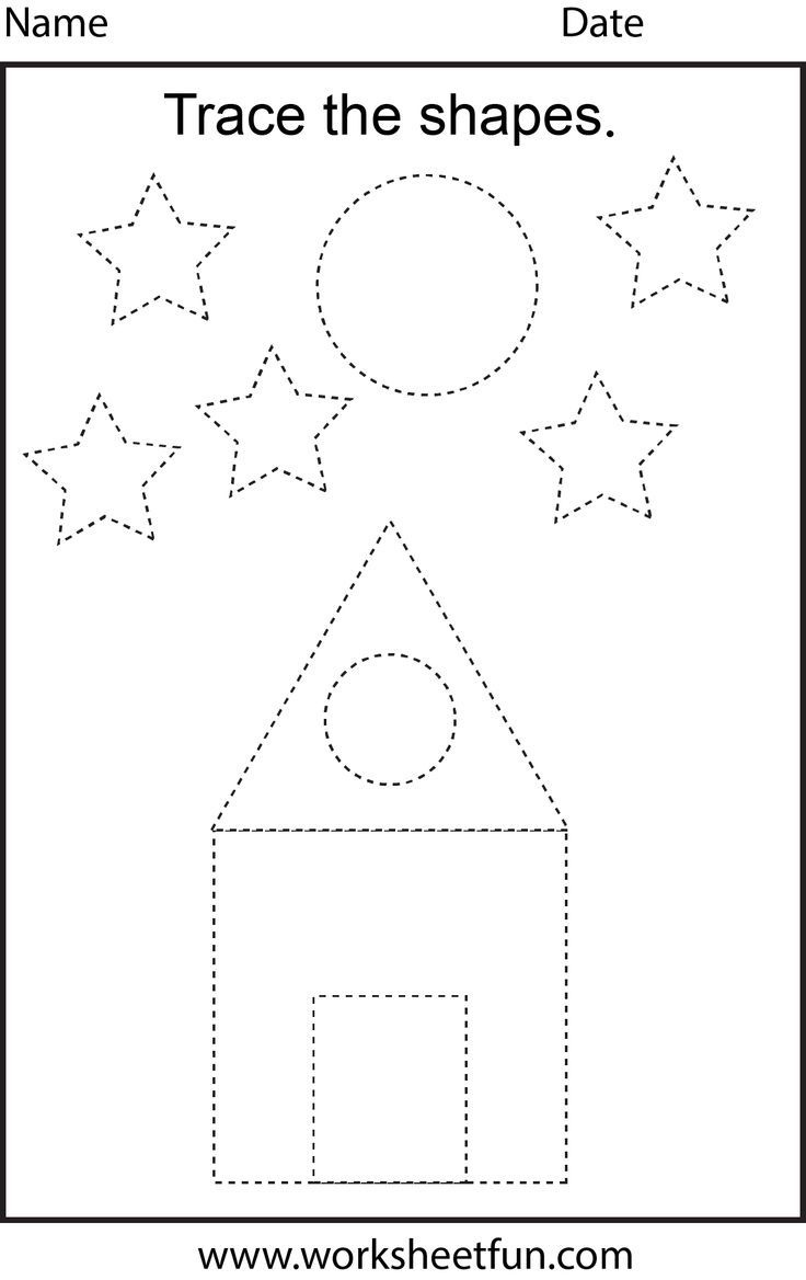 Free Printable Preschool Worksheets - This One Is Trace The Shapes - Free Printable Preschool Worksheets