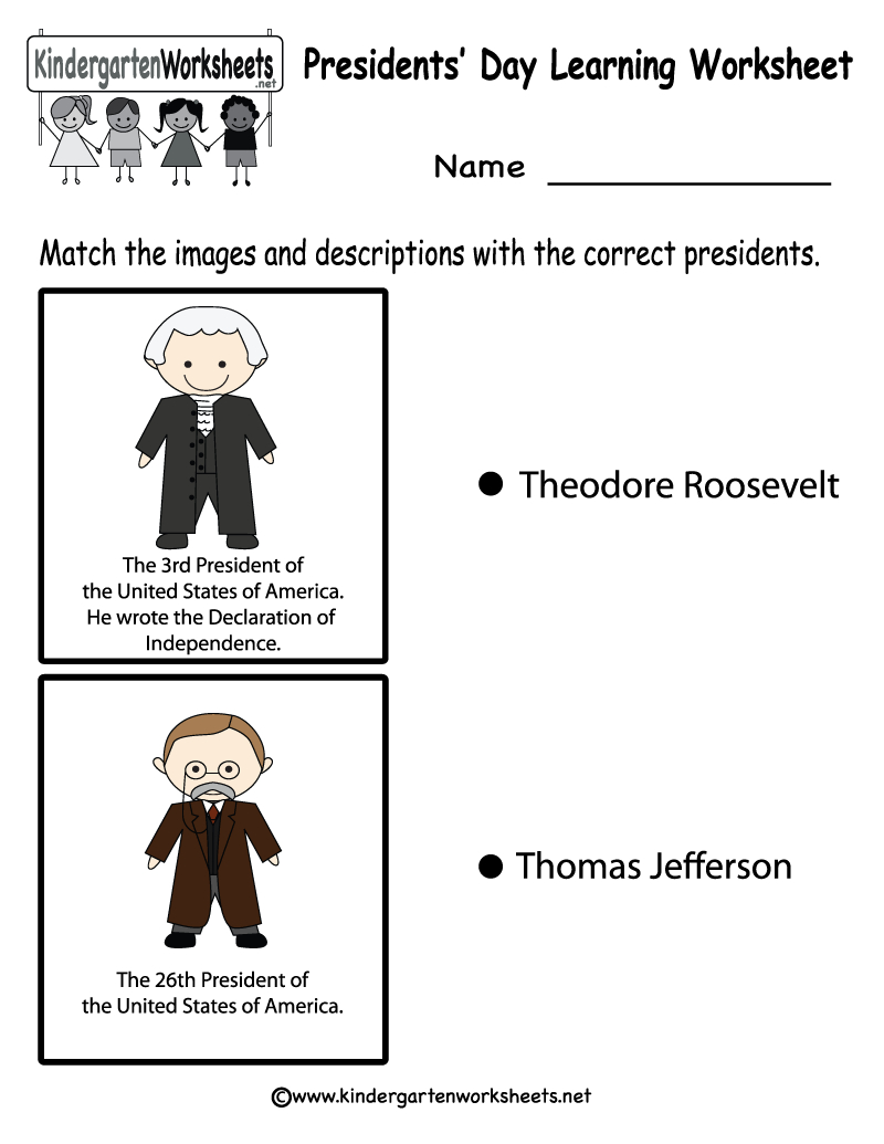 Free Printable Presidents' Day Learning Worksheet For Kindergarten - Free Printable President Worksheets