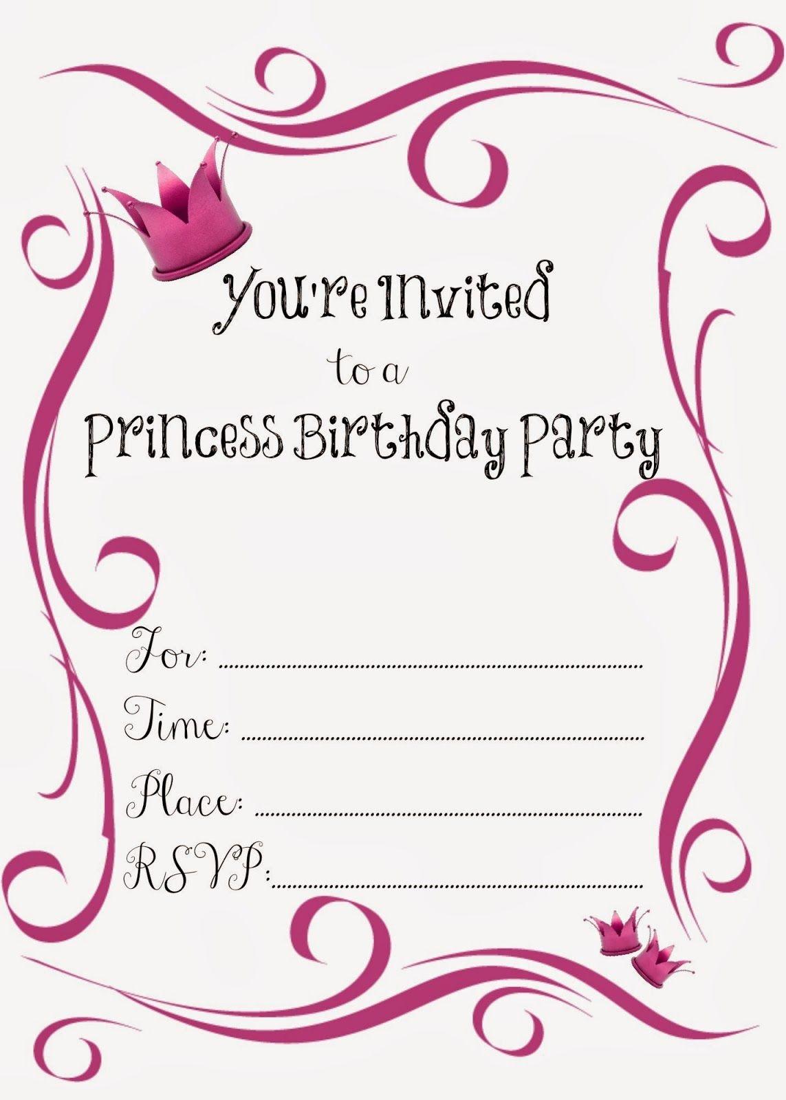Free Printable Princess Birthday Party Invitations | Kendall James - Free Princess Printable Invitations