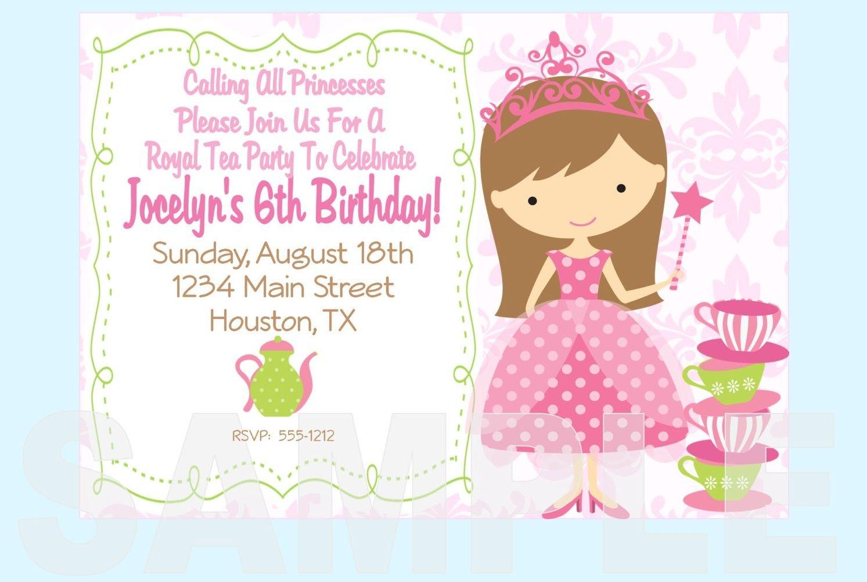 Free Printable Princess Tea Party Invitations Templates | Party - Free Printable Princess Invitations