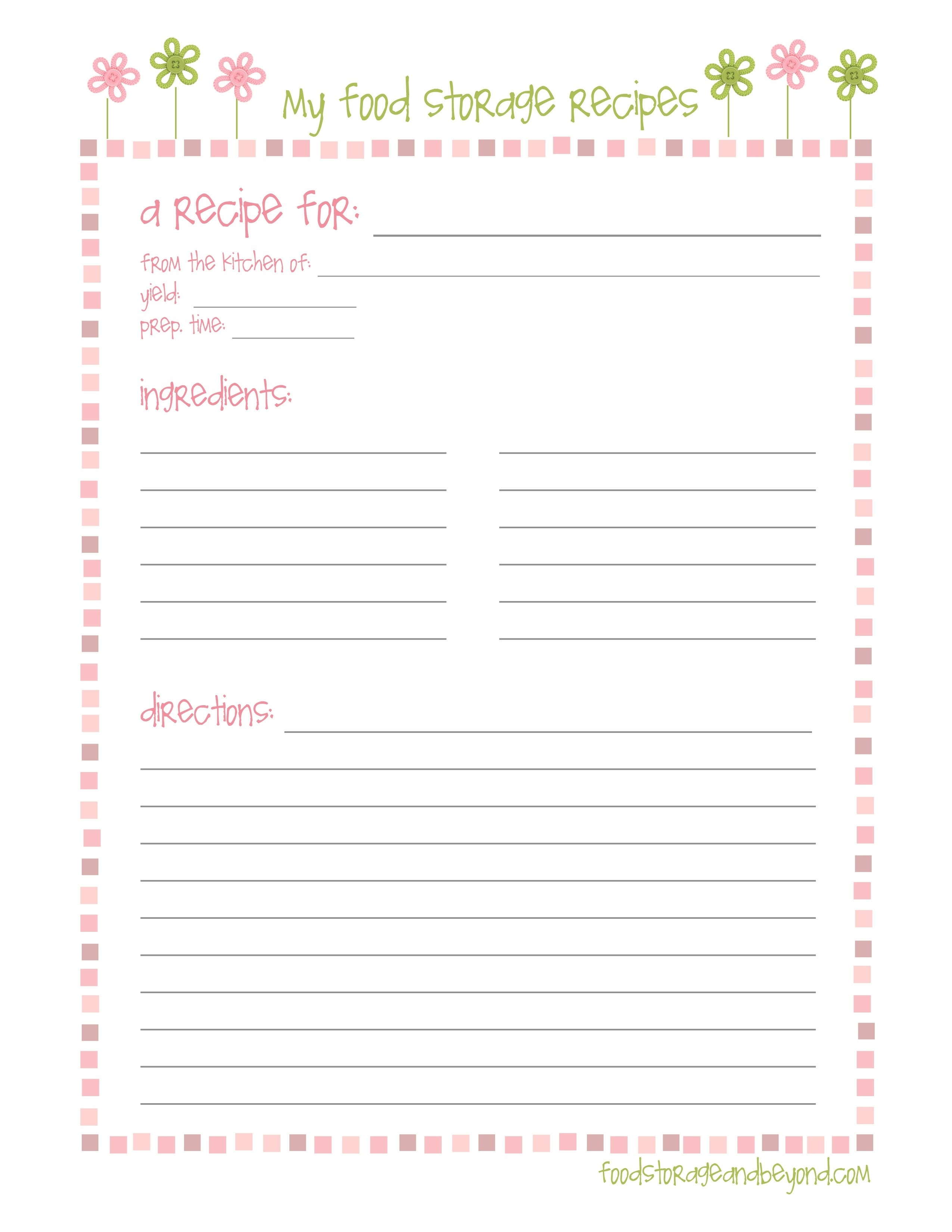 Free Printable Recipe Templates 8X11 | Lazine - Free Printable Recipe Templates