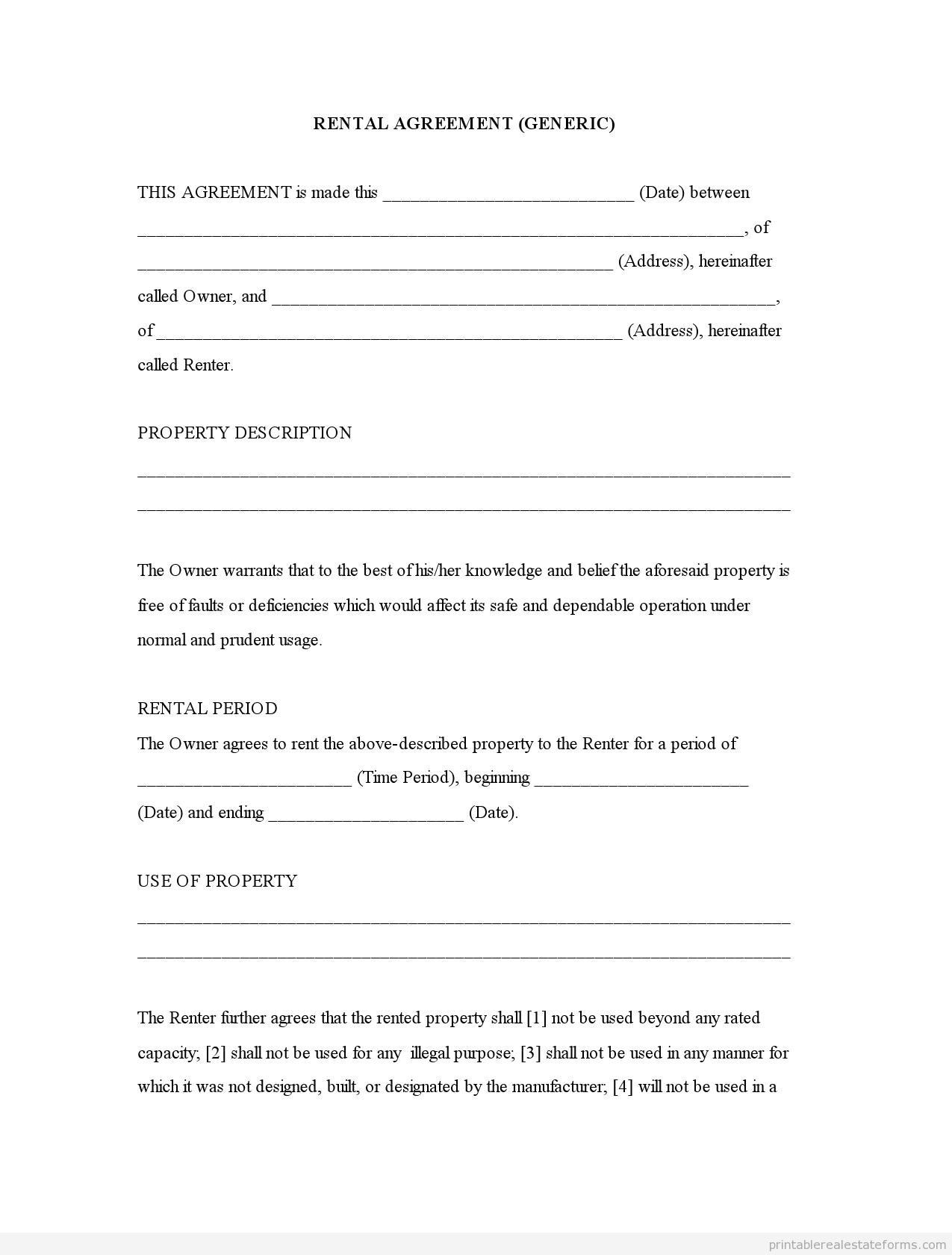 Free Printable Rental Agreement | Rental Agreement (Generic)0001 - Rental Agreement Forms Free Printable