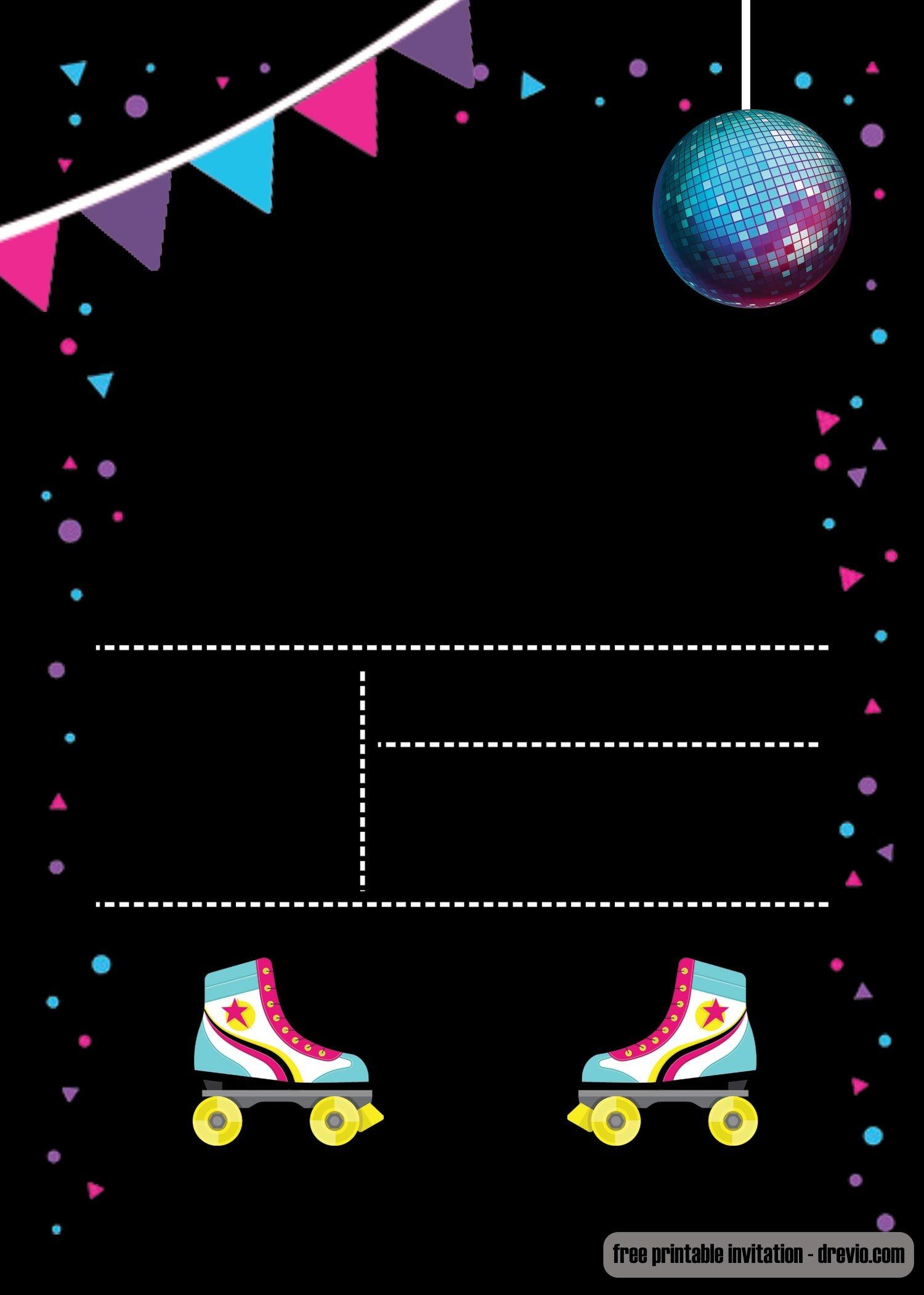 Free Printable Roller Skating Invitation | Invites | Birthday - Free Printable Roller Skate Template