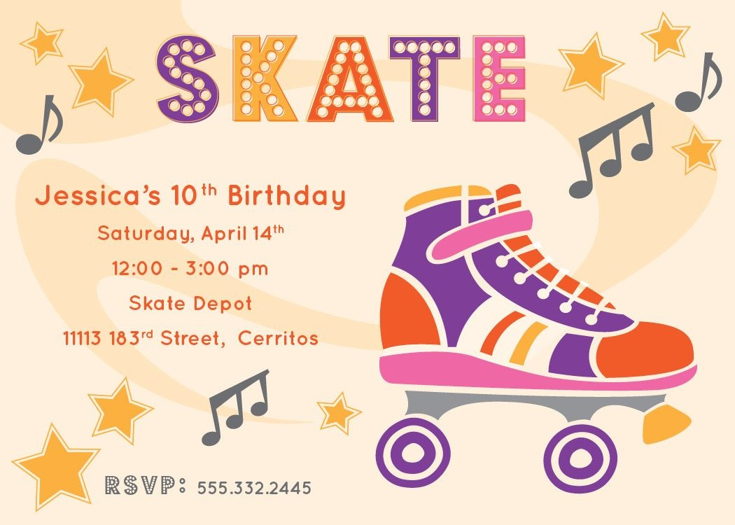 Free Printable Roller Skating Party Invitations | Laylas Birthday - Free Printable Skateboard Birthday Party Invitations