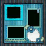 Free Printable Scrapbook Layouts | Blue And Stripes Layout File Size   Free Printable Scrapbook Pages