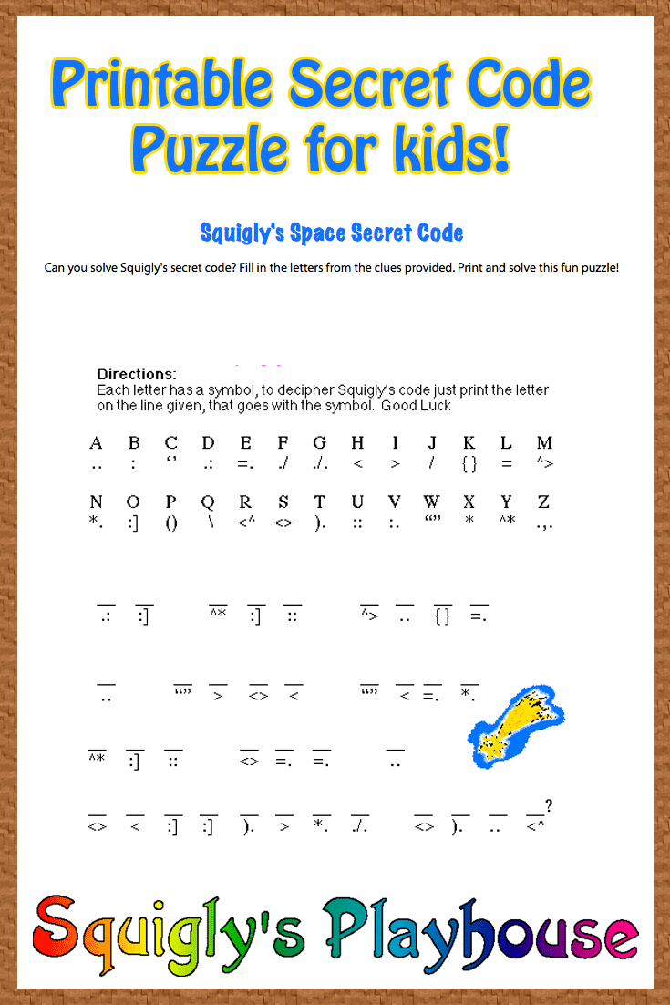 Free Printable Secret Code Word Puzzle For Kids. This Puzzle Has A - Free Printable Cryptograms Pdf