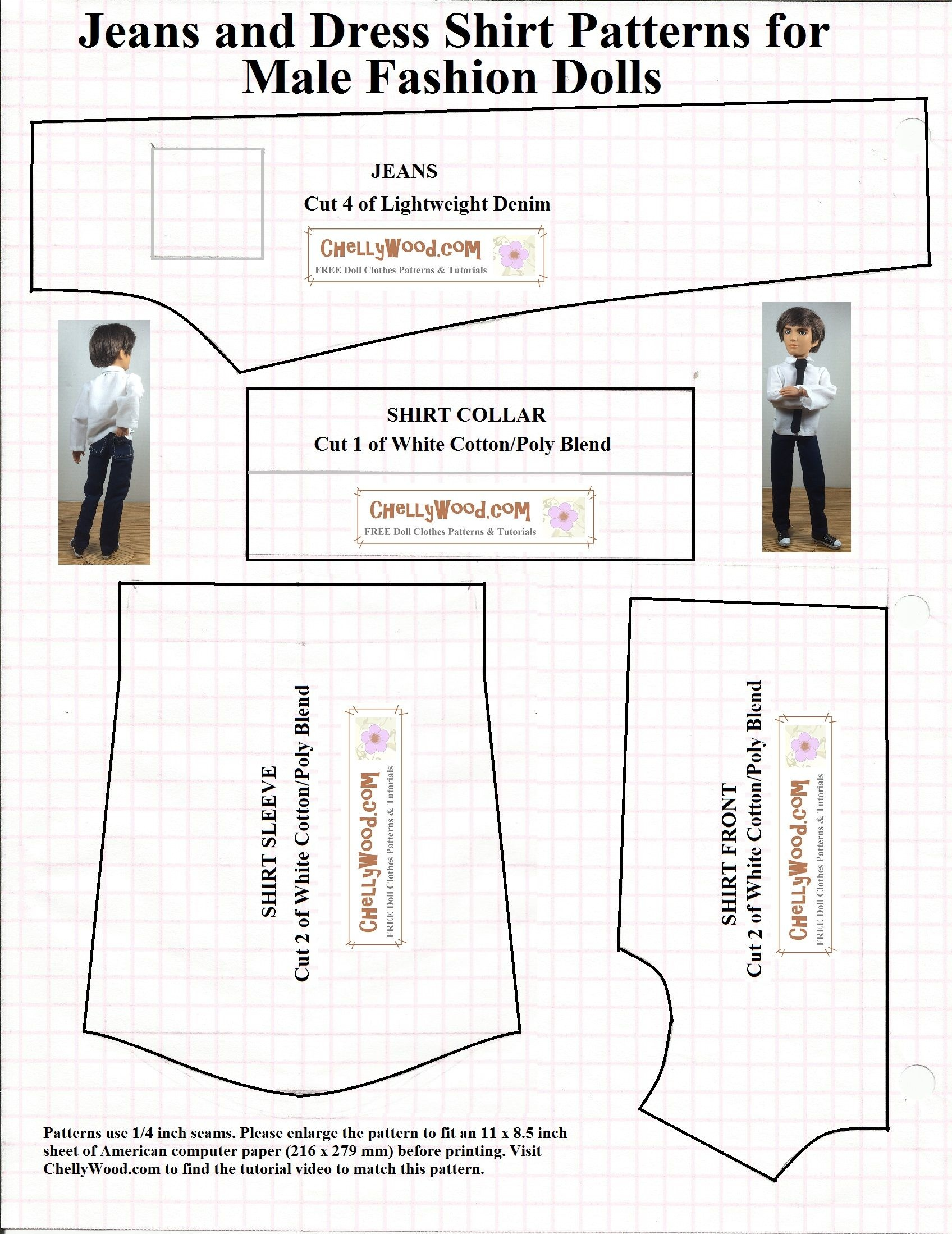 Free Printable Sewing Patterns For Dolls Of Many Shapes And Sizes - Ken Clothes Patterns Free Printable