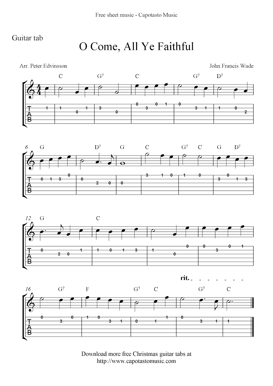 Free Printable Sheet Music: O Come, All Ye Faithful, Easy Free - Free Printable Guitar Tabs For Beginners