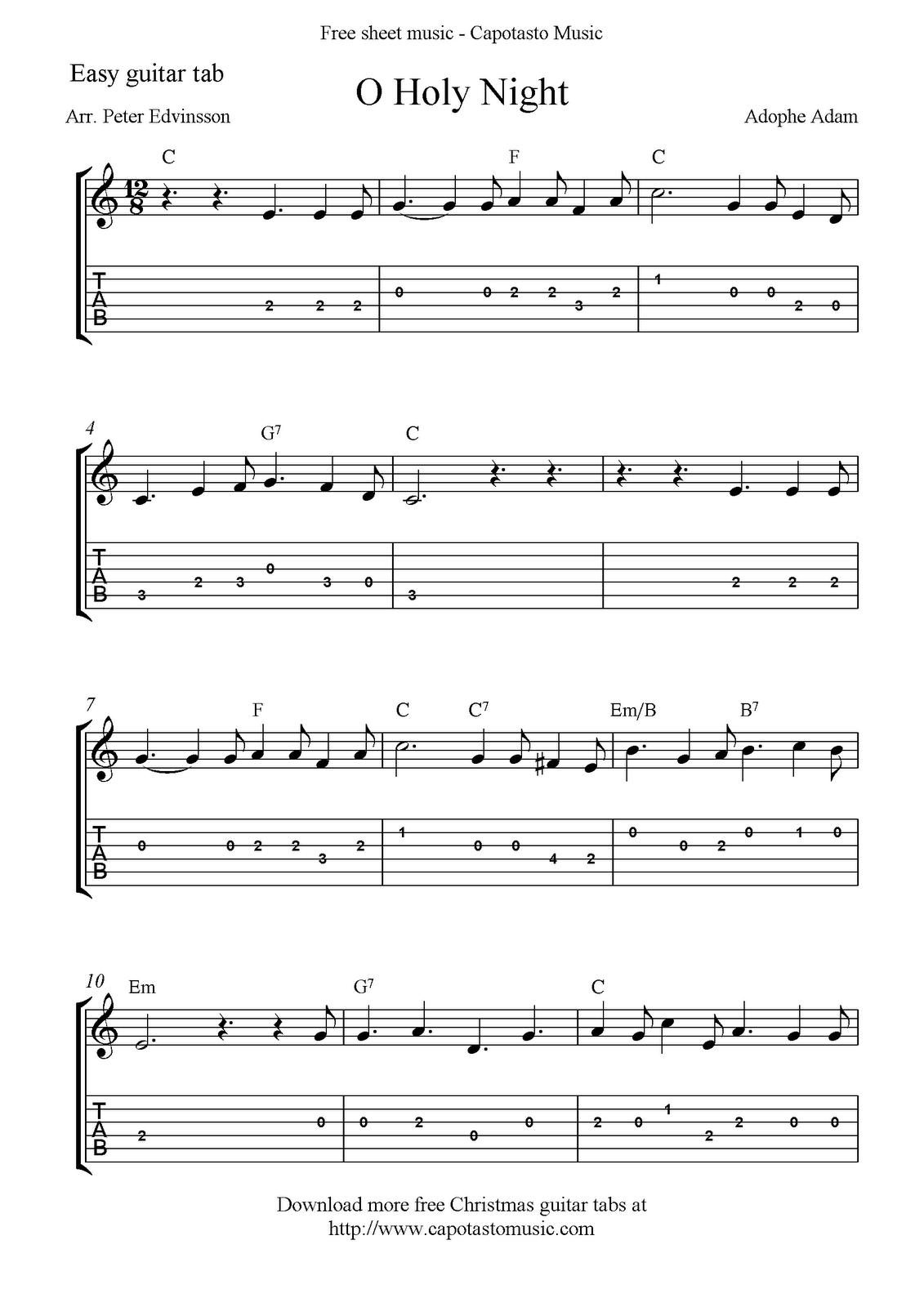 Free Printable Sheet Music: O Holy Night, Free Easy Christmas Guitar - Free Printable Guitar Tabs For Beginners