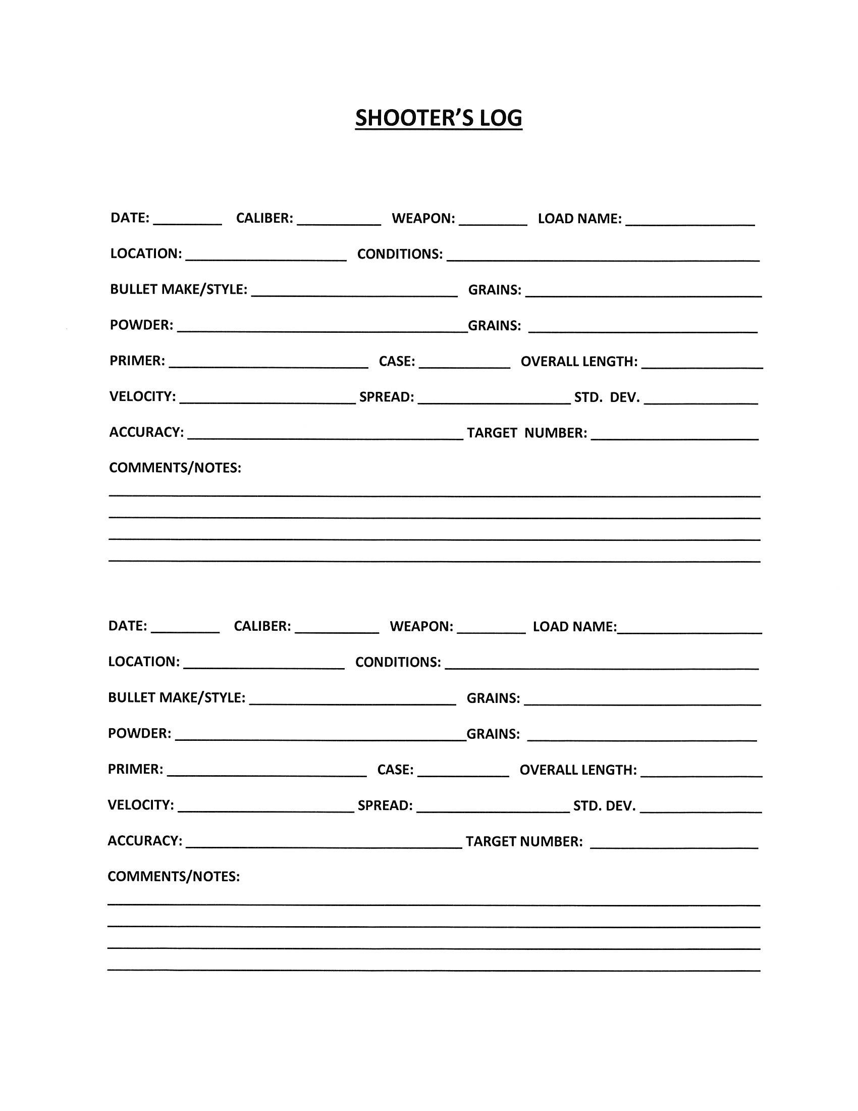 Free Printable Shooters Log! Print Off Multiple Copies To Keep In - Free Printable No Guns Allowed Sign