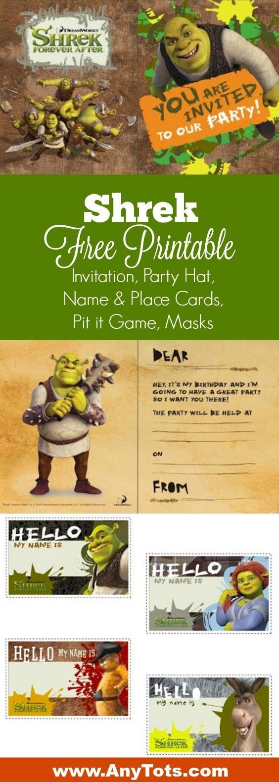 Free Printable Shrek Birthday Party: Invitation, Game, Party Hat - Free Printable Shrek Birthday Invitations