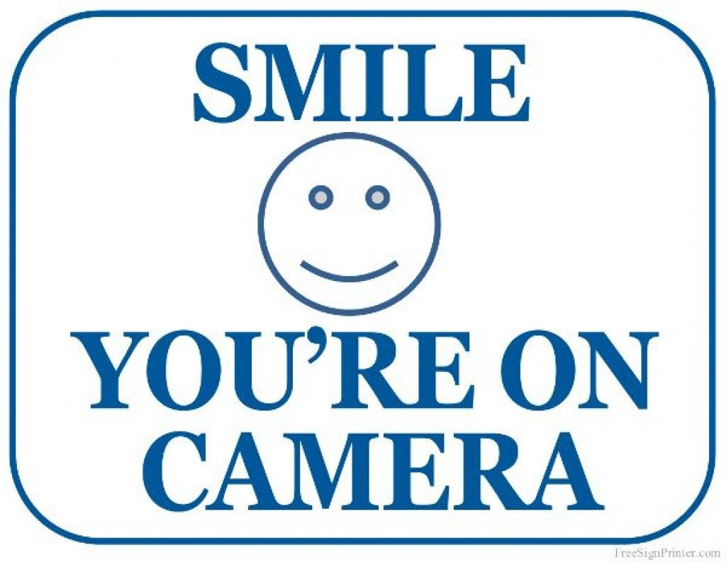 Free Printable Smile Your On Camera Sign | Free Printable - Free - Free Printable Smile Your On Camera Sign