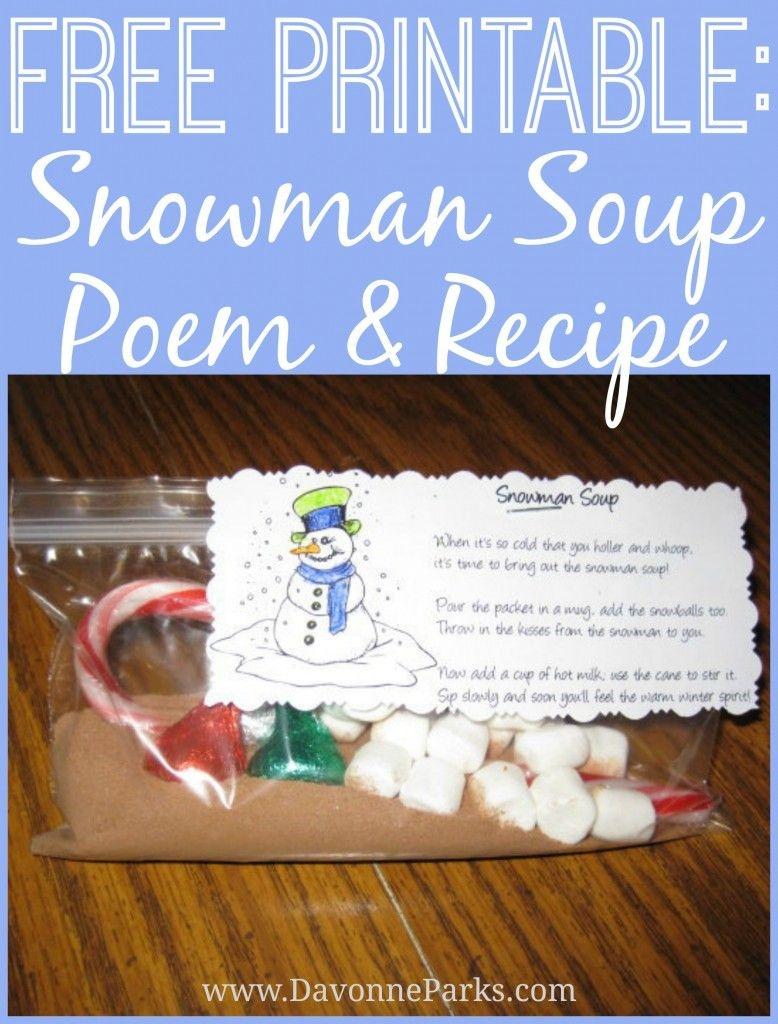 Free Printable: Snowman Soup Poem   Christmas   Snowman Soup - Snowman Soup Free Printable