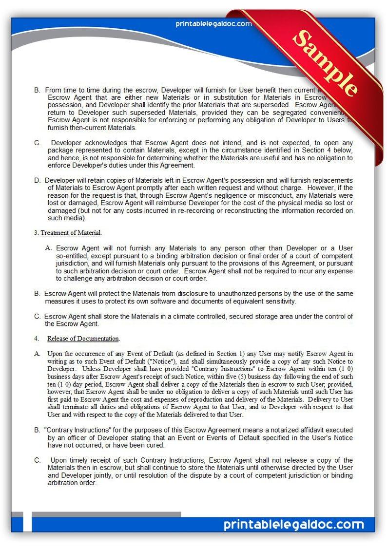 Free Printable Source Code Escrow Agreement Legal Forms | Free Legal - Free Legal Forms Online Printable
