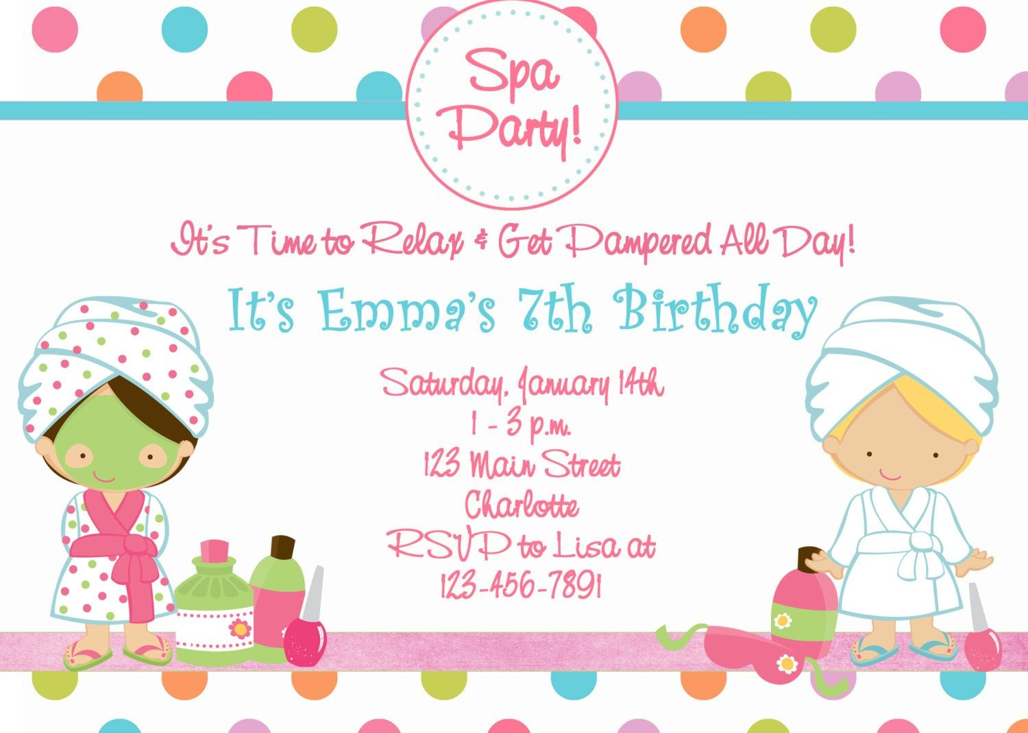 Free Printable Spa Birthday Party Invitations   Spa At Home   Spa - Free Printable Birthday Invitations For Kids