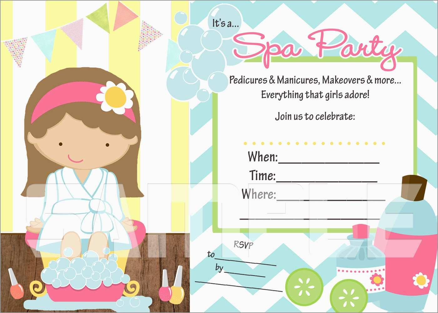 Free Printable Spa Party Invitations Templates Luxury Free Printable - Free Printable Spa Party Invitations Templates