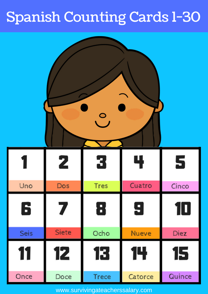 Free Printable Spanish Flashcards Numbers 1-30 - Free Printable Number Cards