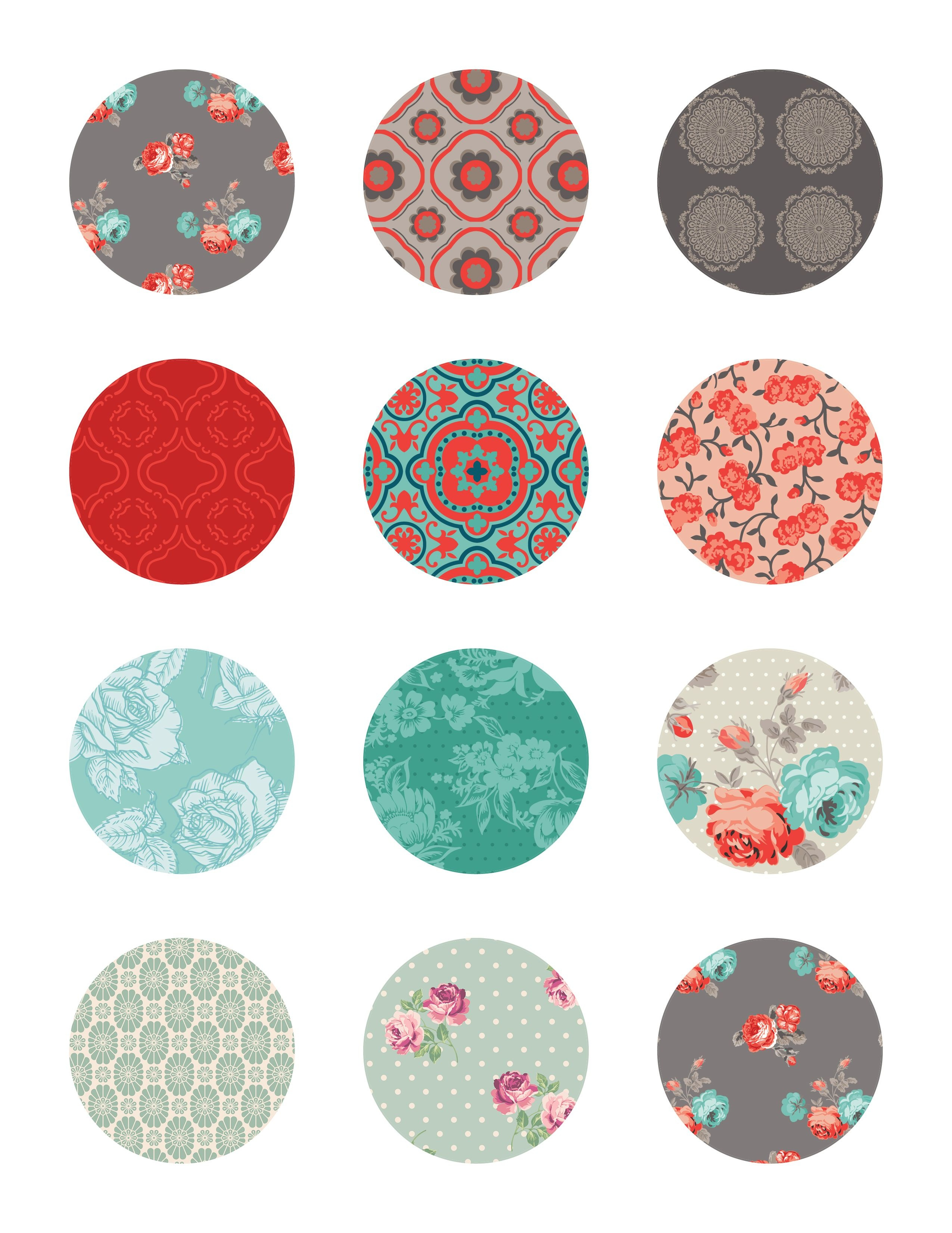 Free Printable Stickers Floral Labels | Printable Stickers | Free - Free Printable Cabochon Templates