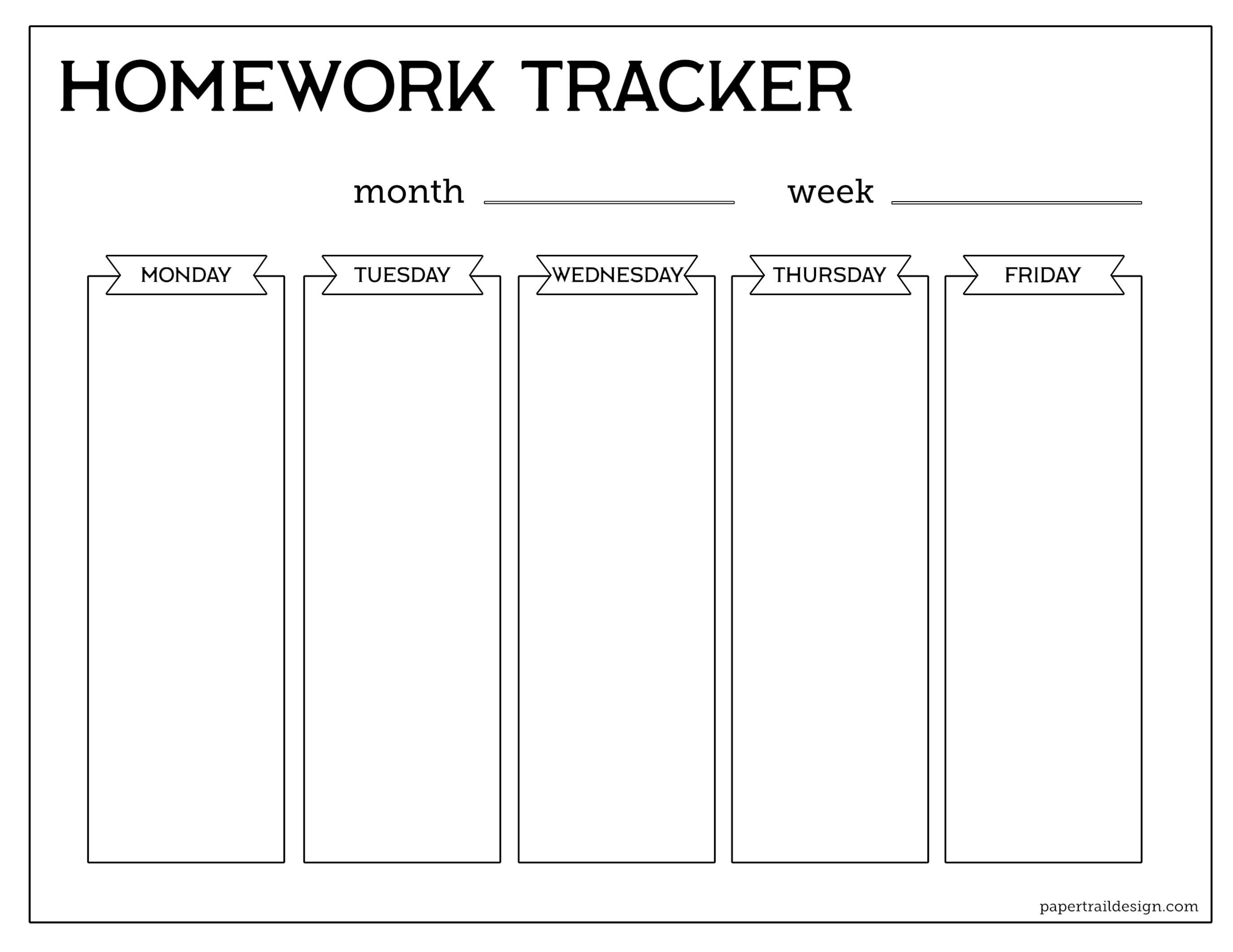 Free Printable Student Homework Planner Template - Paper Trail Design - Free Printable Homework