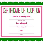 Free Printable Stuffed Animal Adoption Certificate | Free Printables   Free Printable Adoption Certificate