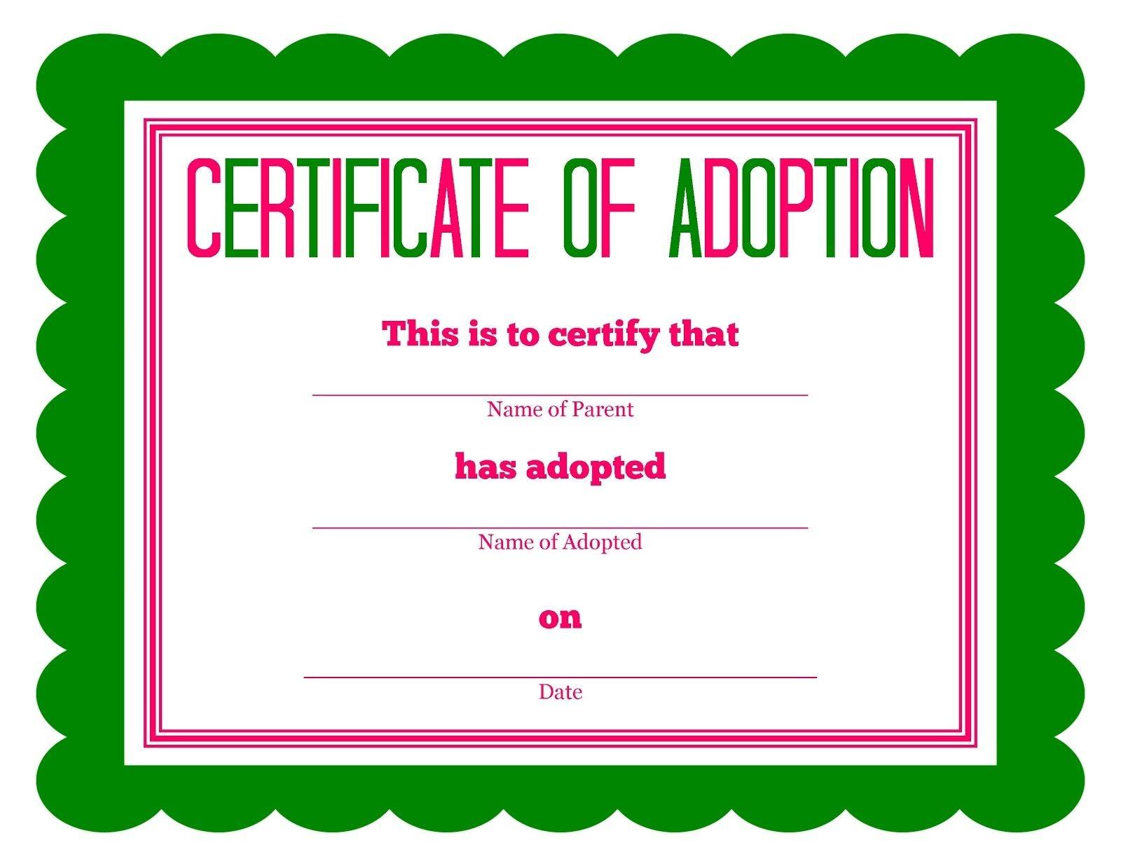 Free Printable Stuffed Animal Adoption Certificate | Free Printables - Free Printable Adoption Certificate
