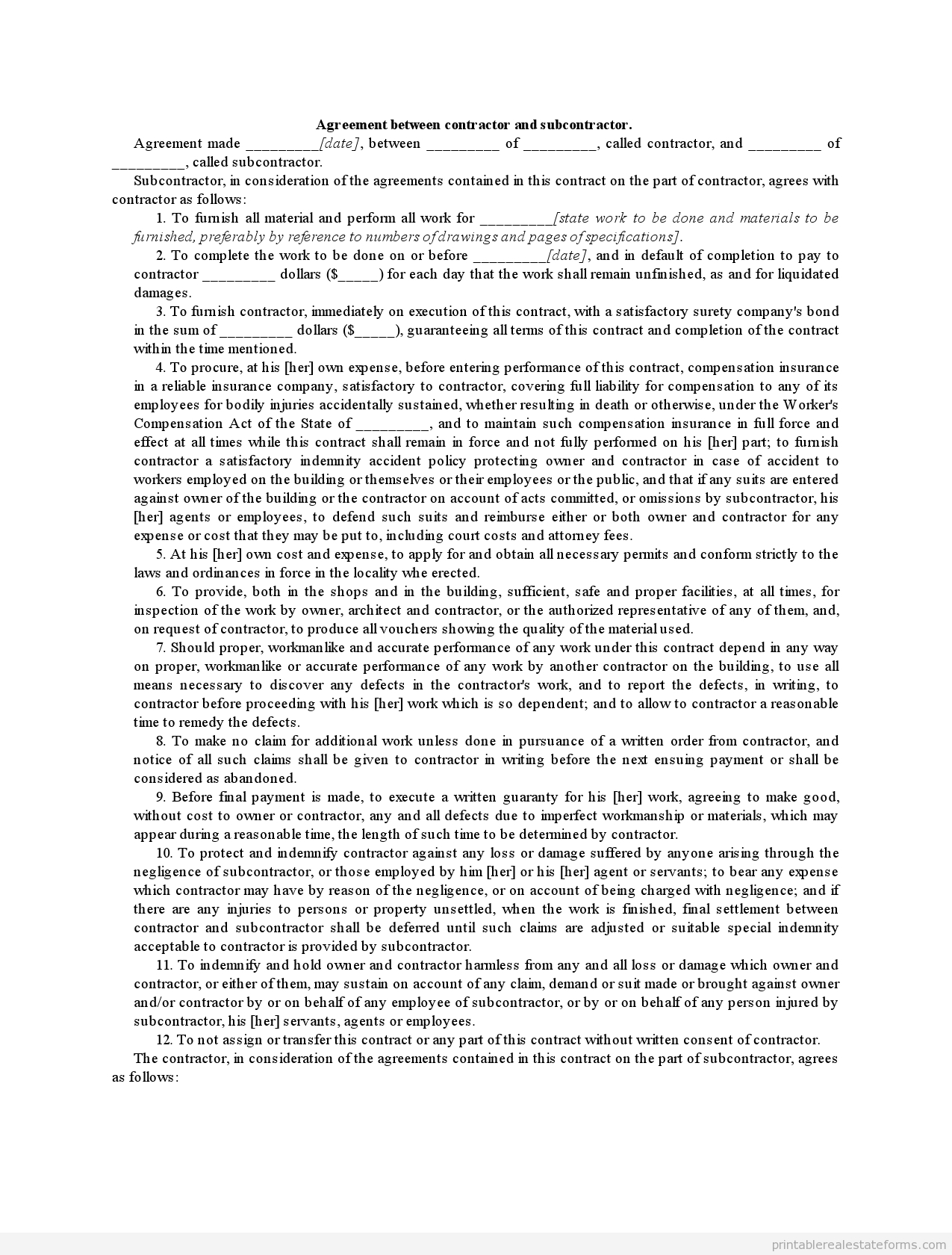 Free Printable Subcontractor Forms.contract Between Contractor And - Free Printable Subcontractor Agreement