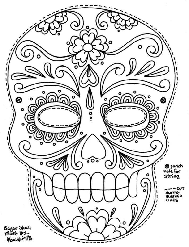 Free Printable Sugar Skull Day Of The Dead Mask. Could Use To Make - Free Printable Day Of The Dead Worksheets
