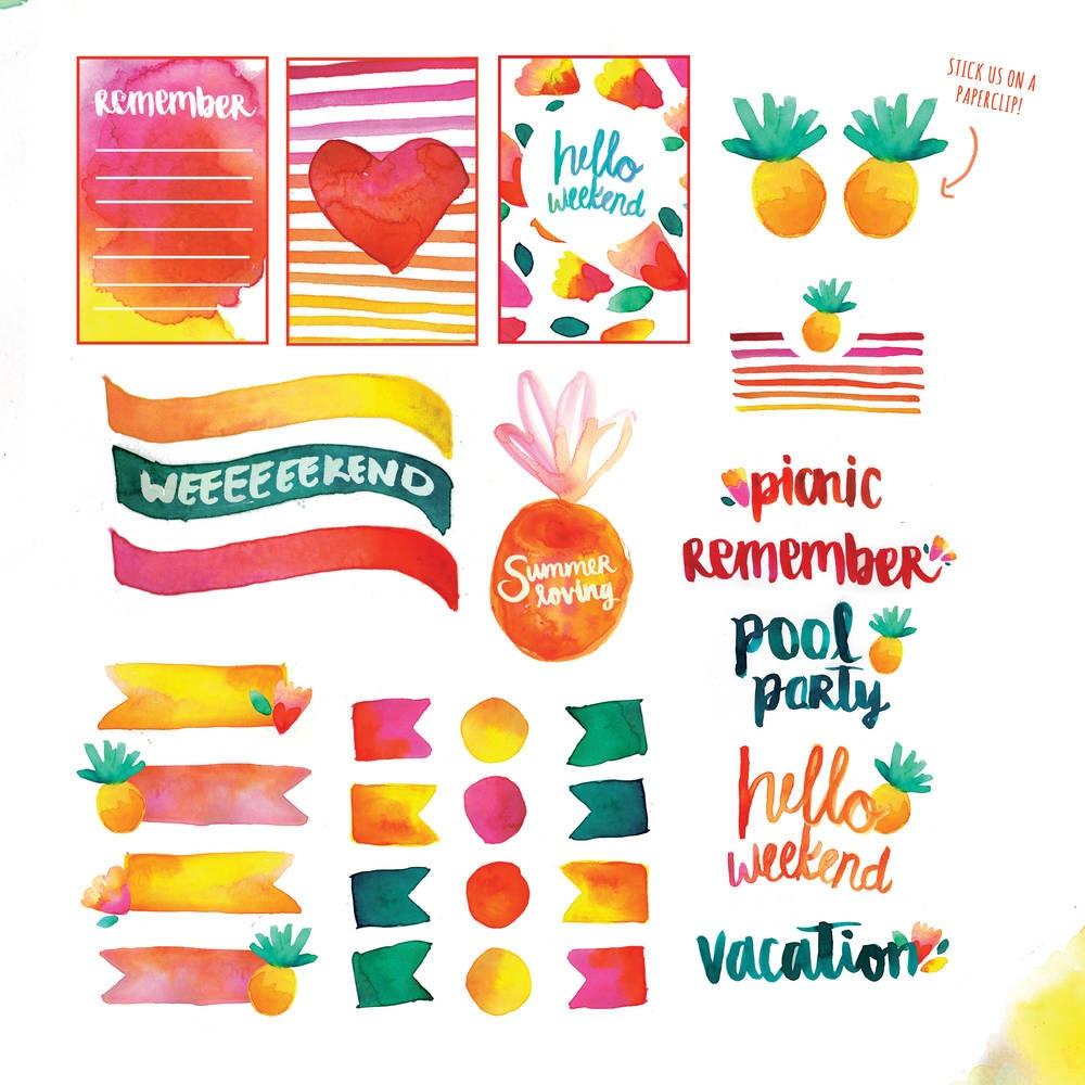 Free Printable: Summer Watercolor Planner Stickers   Blitsy - Scrapbooking Die Cuts Free Printable