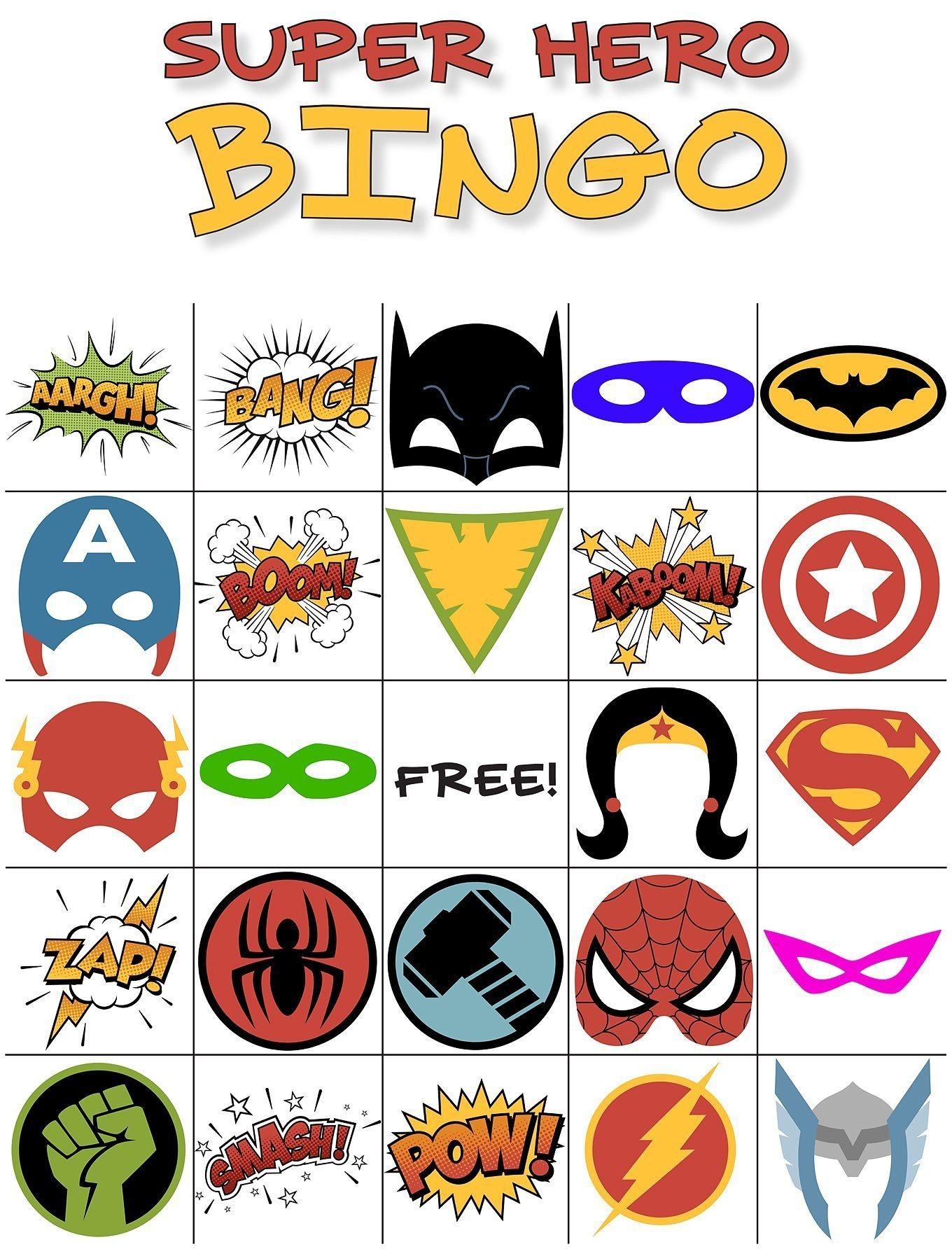 Free Printable Super Hero Bingo Party | Super Hero Shirts - Free Printable Superhero Pictures