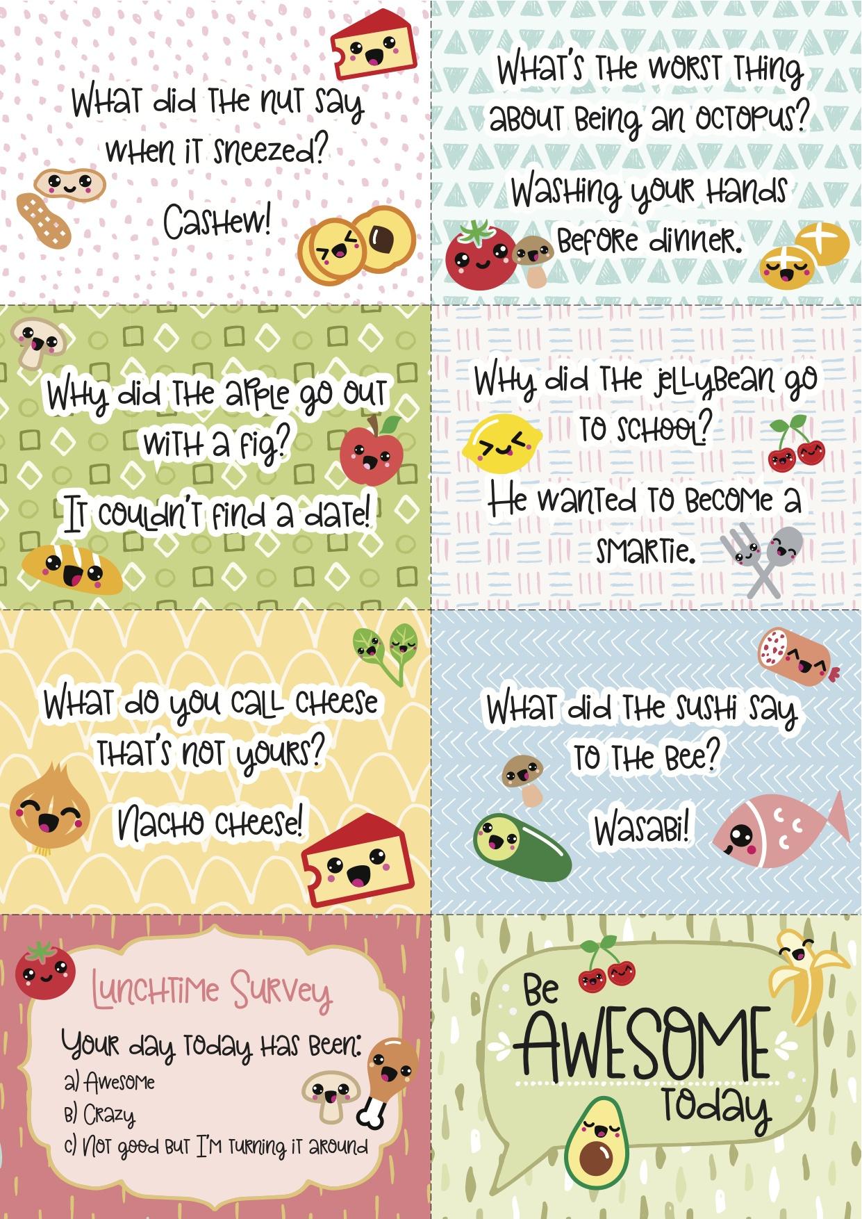 Free Printable Super-Kawaii Lunchbox Notes - Free Printable School Notes