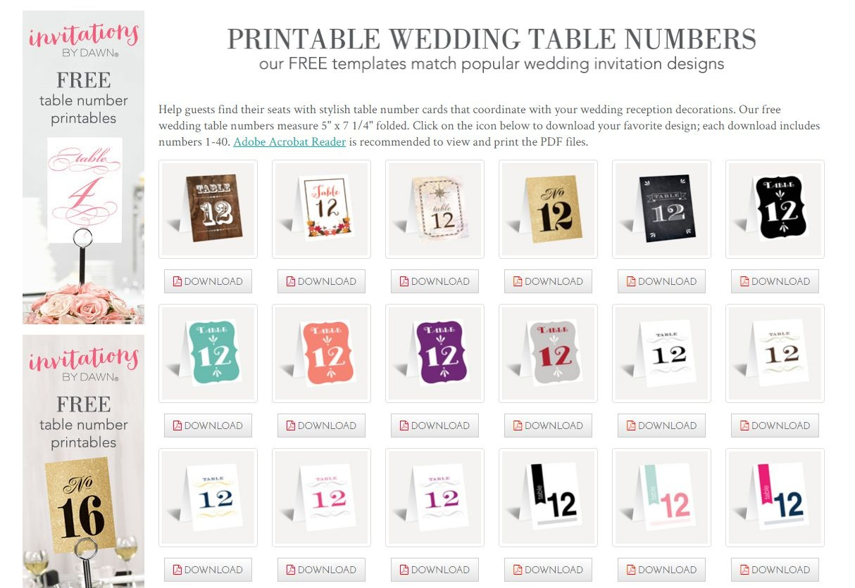 Free Printable Table Numbers 1 30 (84+ Images In Collection) Page 2 - Free Printable Table Numbers 1 30