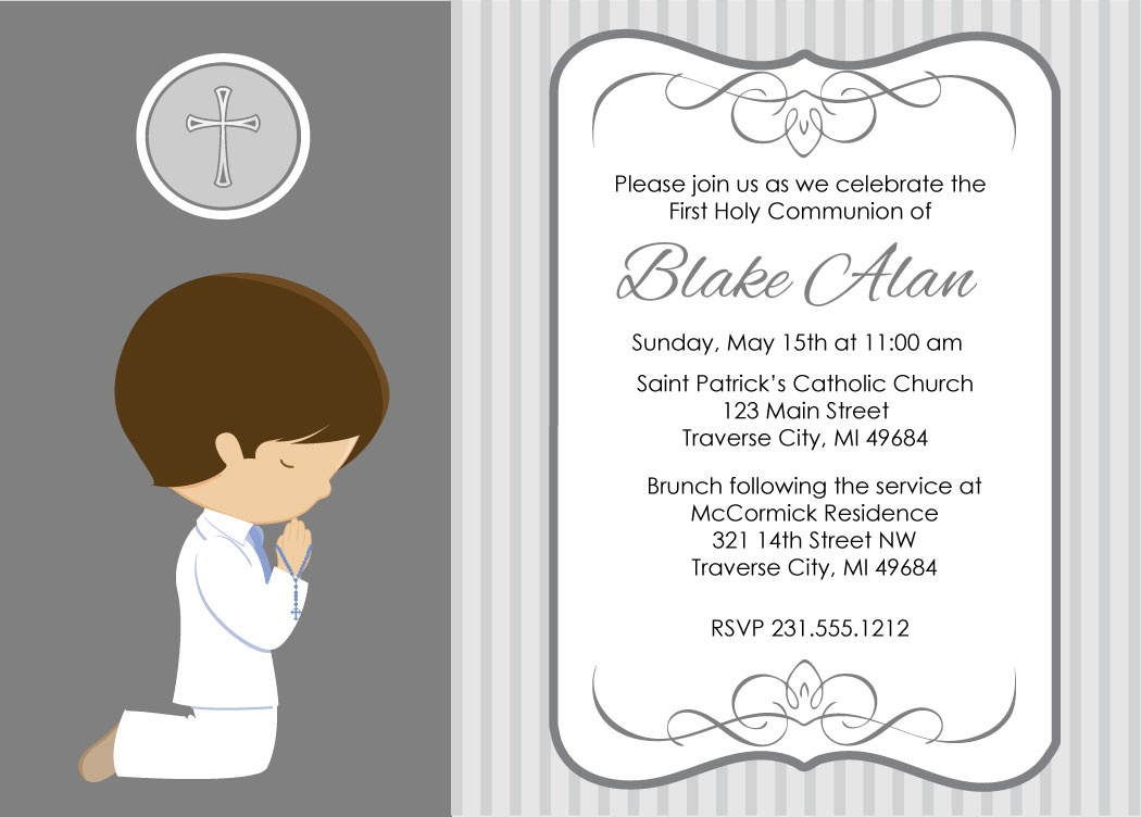 Free Printable Template Of Holy Communion Invitations - Free Printable First Communion Invitation Templates