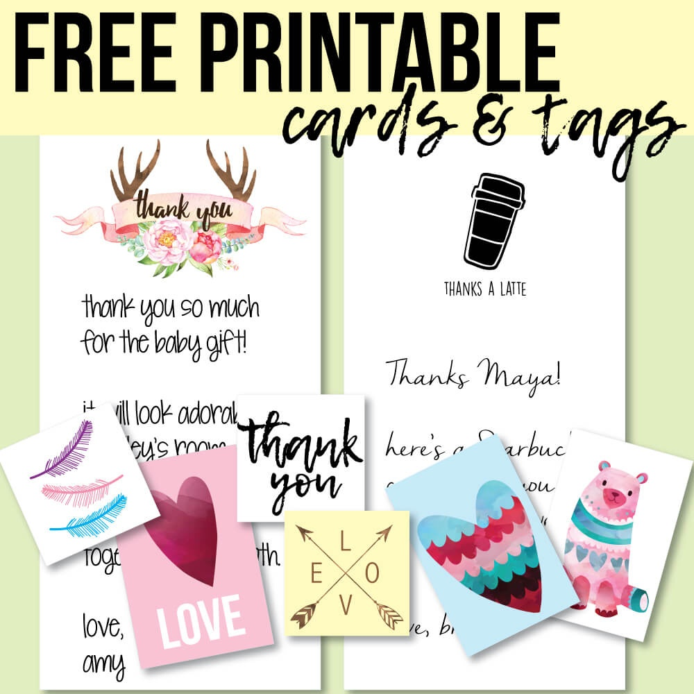Free Printable Thank You Cards And Tags For Favors And Gifts! - Free Printable Thank You Tags