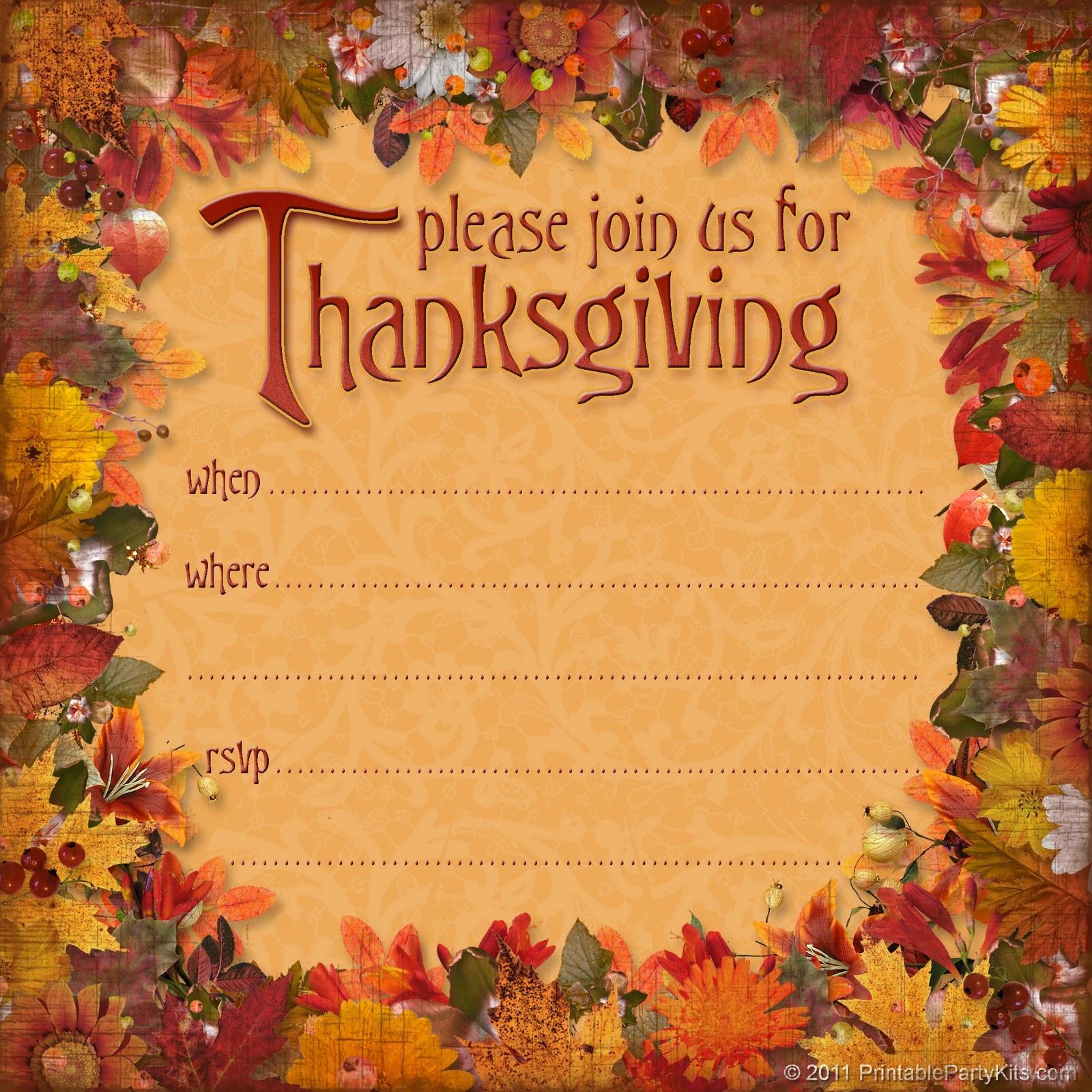 Free Printable Thanksgiving Invitations – Happy Easter - Free Printable Thanksgiving Invitations