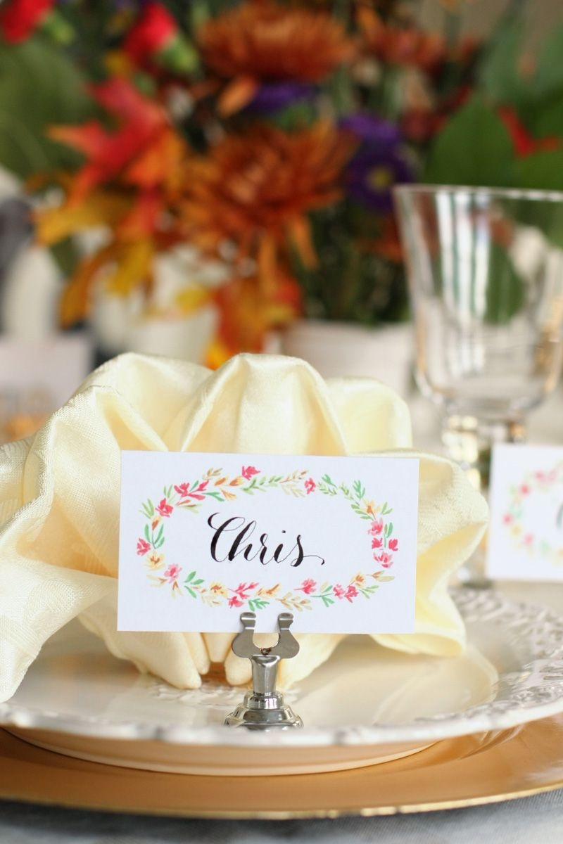 Free Printable Thanksgiving Place Cards   Watercolor Florals - Free Printable Thanksgiving Place Cards