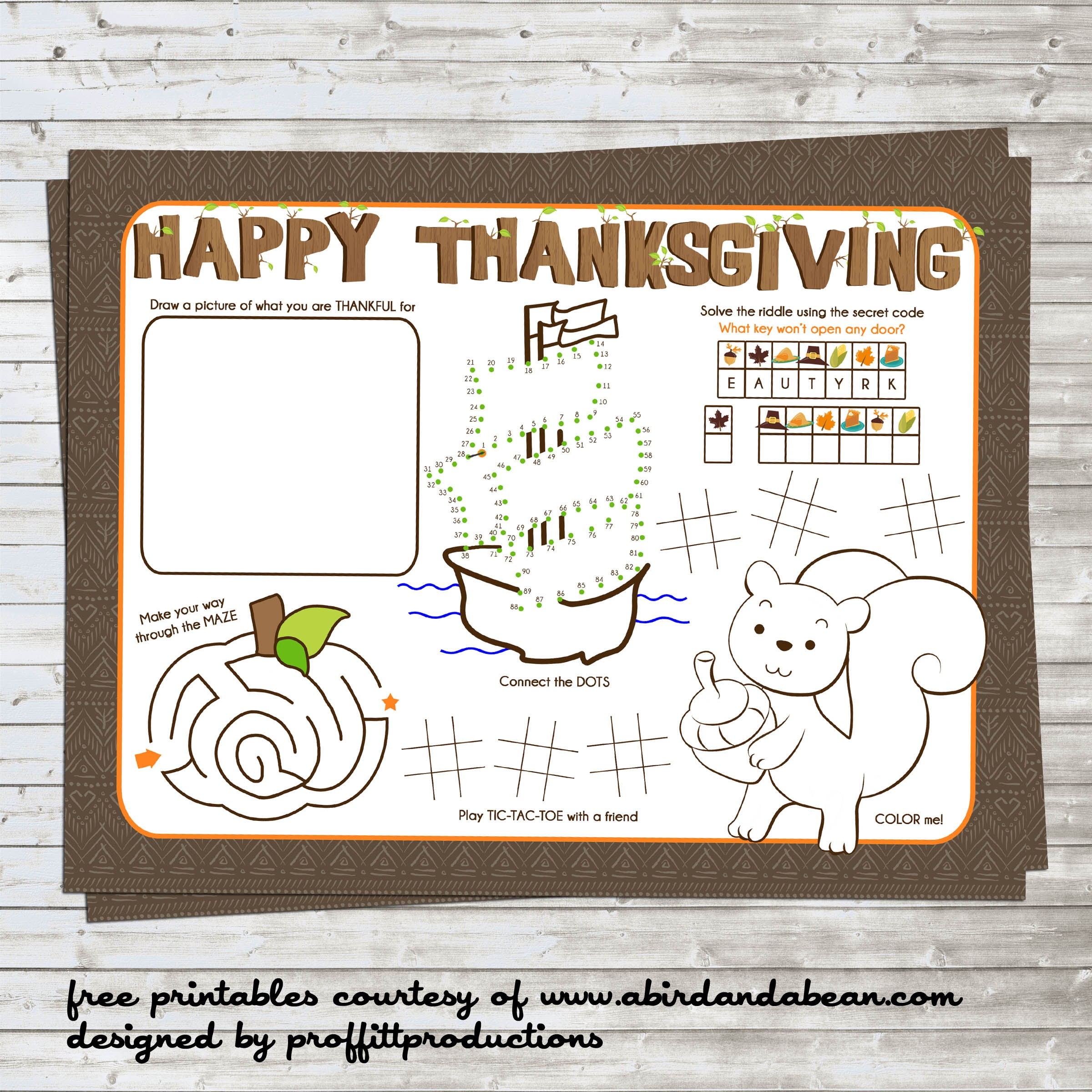 Free Printable :: Thanksgiving Placemat For The Kids - Free Printable Thanksgiving Images