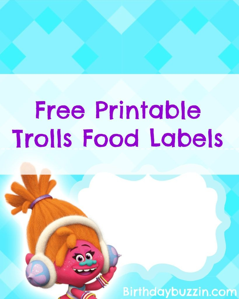 Free Printable Trolls Food Labels   Harper Bday   Trolls Birthday - Free Printable Trolls