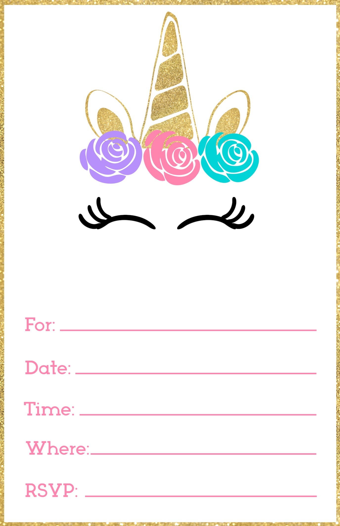 Free Printable Unicorn Invitations Template - Paper Trail Design - Free Printable Birthday Invitations With Pictures