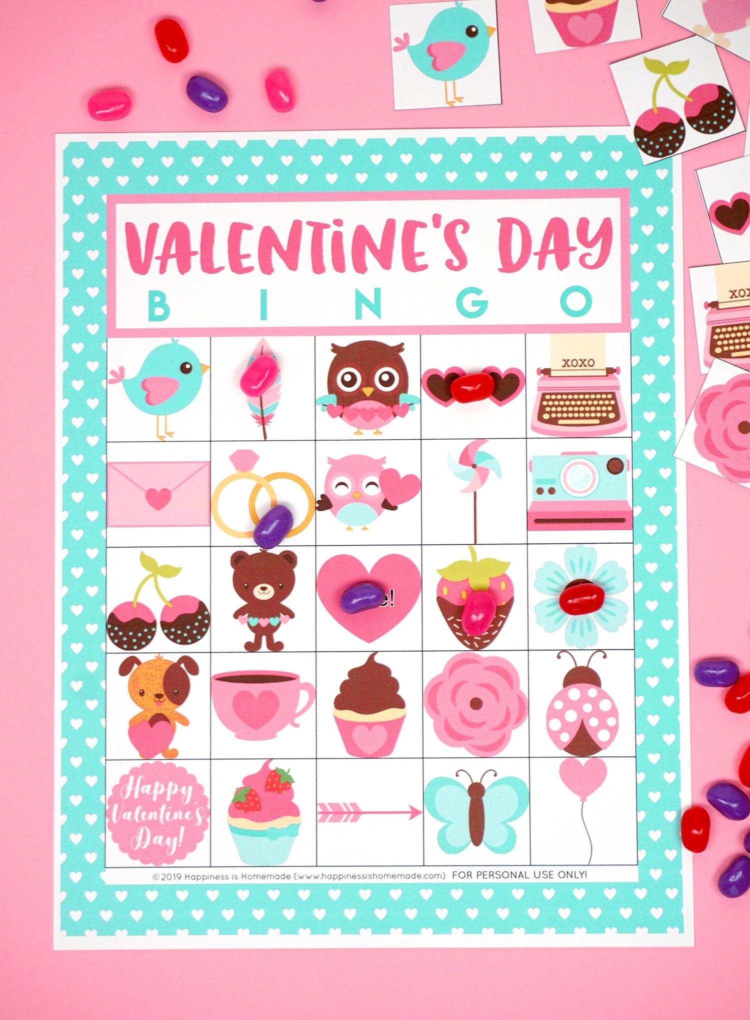 Free Printable Valentine Bingo - Happiness Is Homemade - Free Printable Bingo