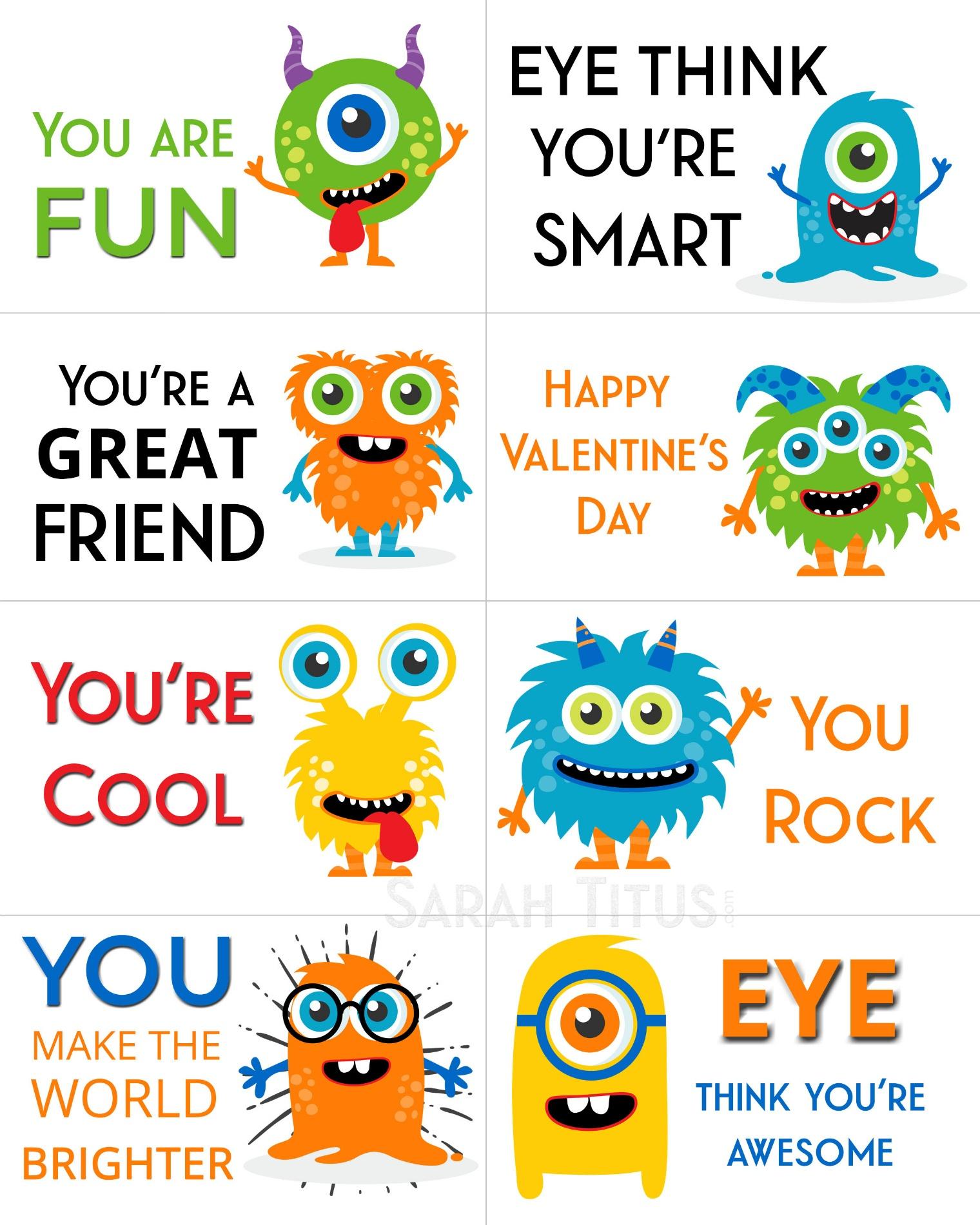 Free Printable Valentine Cards - Sarah Titus - Free Printable Valentine Cards For Preschoolers