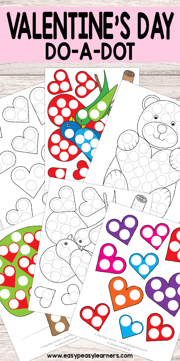 Free Printable Valentines Day Do A Dot Worksheets   Must Do Crafts - Free Printable Crafts For Preschoolers