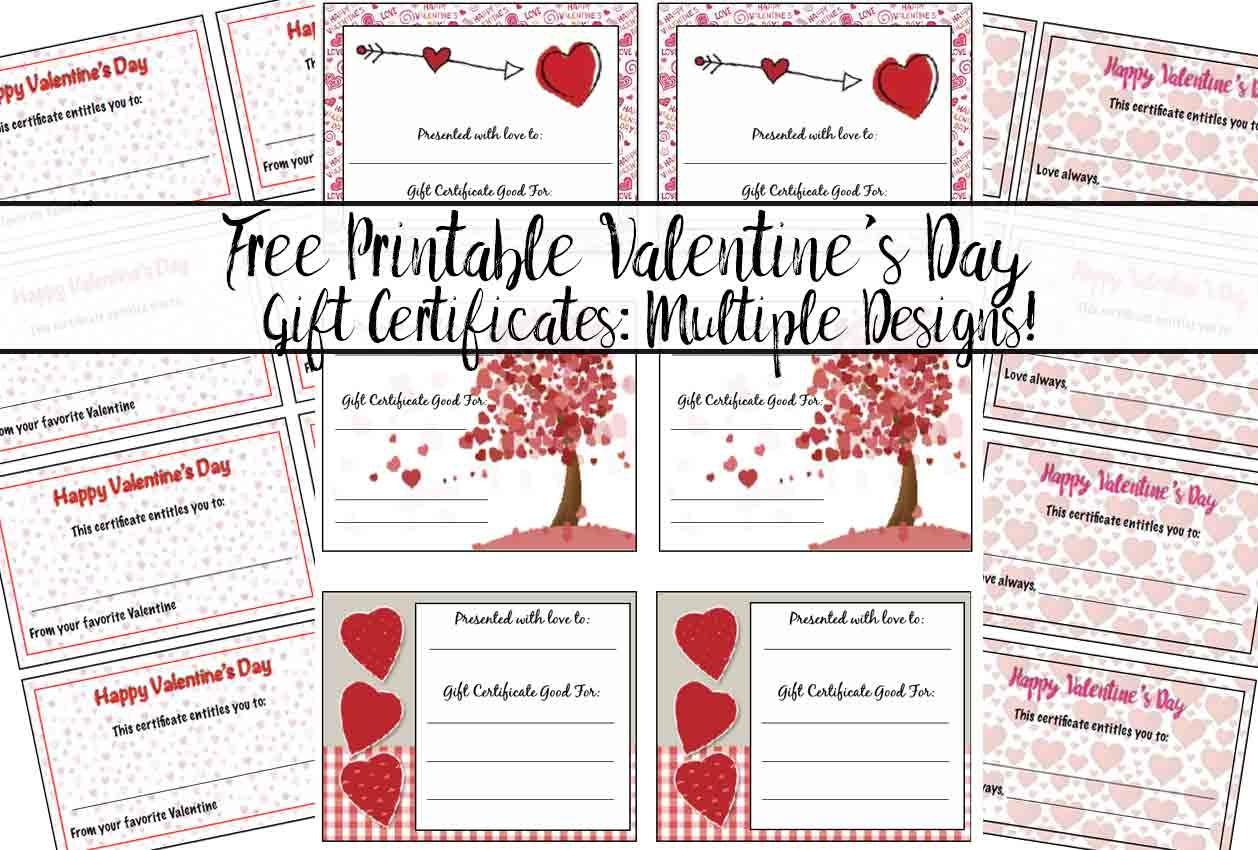 Free Printable Valentine's Day Gift Certificates: 5 Designs - Free Printable Gift Certificates
