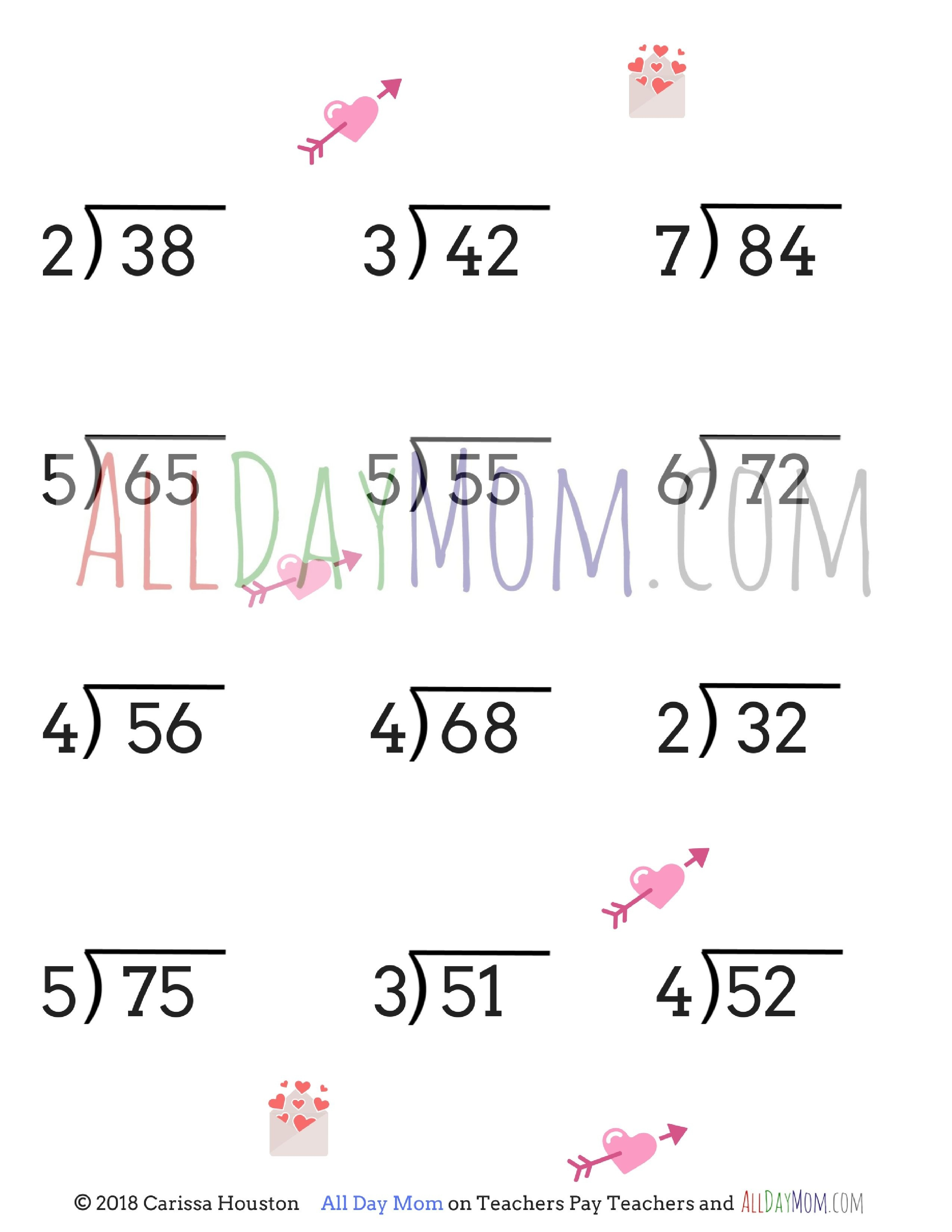 Free Printable Valentine's Day Math Worksheets! | Homeschool Math - Free Printable Division Worksheets For 5Th Grade