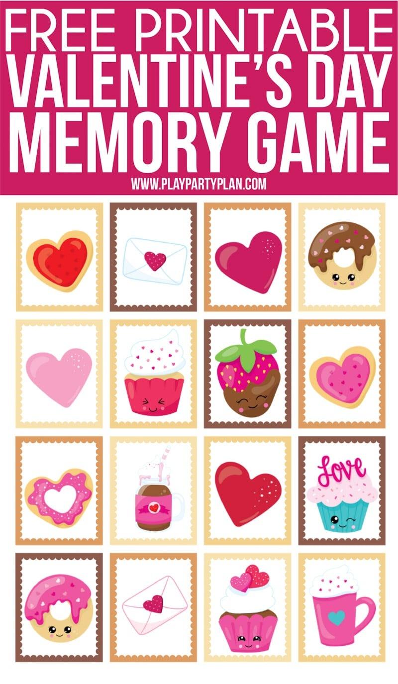 Free Printable Valentine's Day Memory Games For Kids - Play Party Plan - Free Printable Valentine Games For Adults